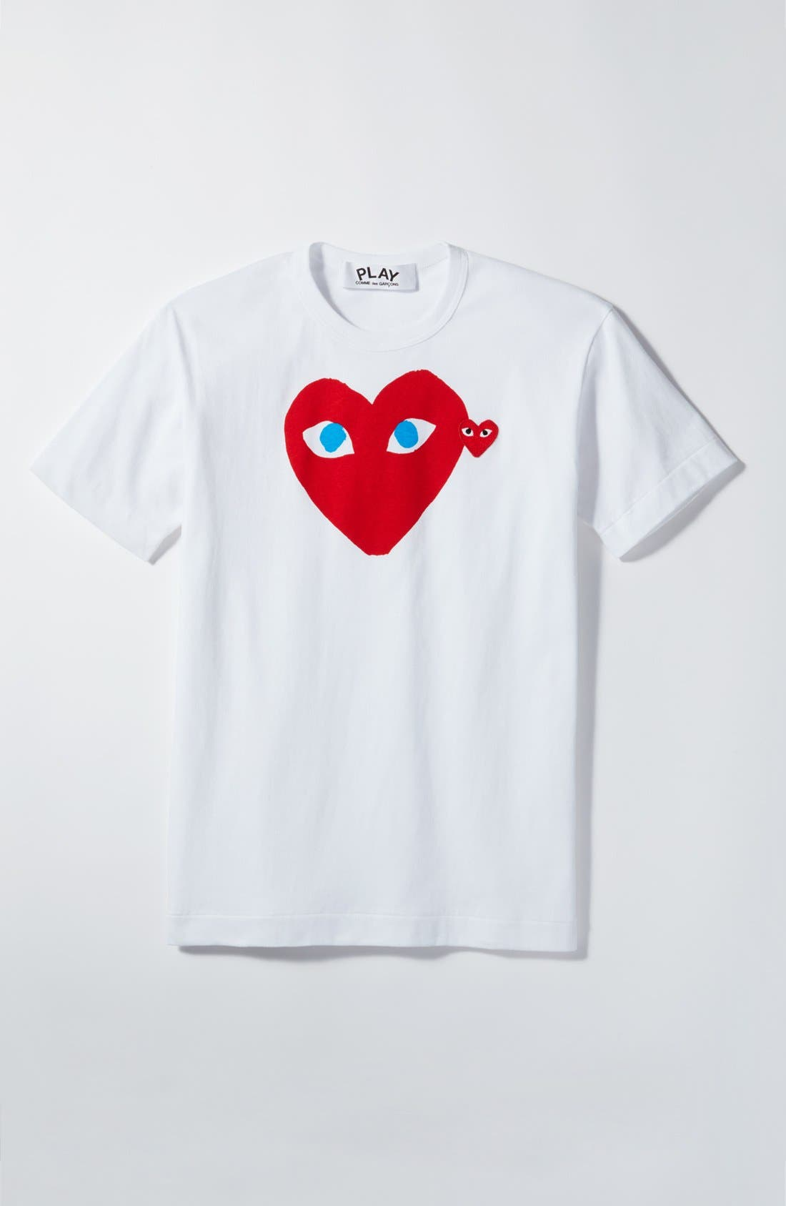 COMME DES GARÇONS PLAY, Heart Face Graphic T-Shirt, Alternate thumbnail 2, color, WHITE