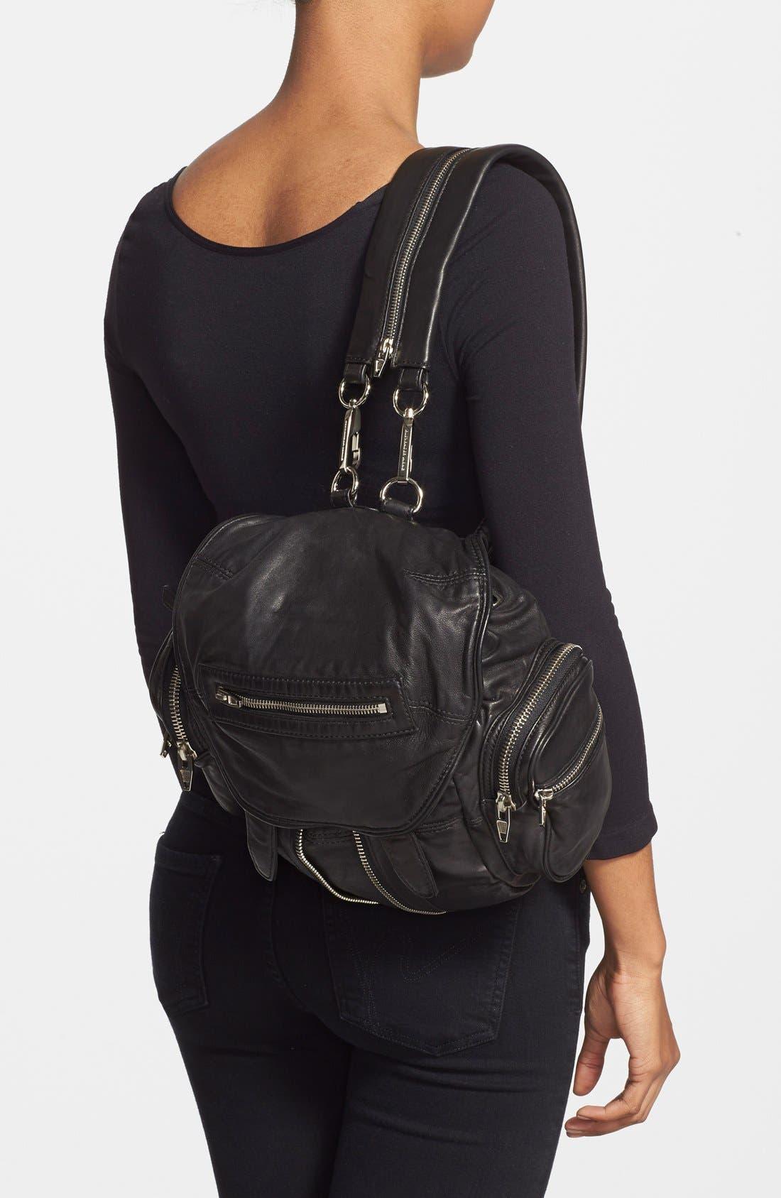 ALEXANDER WANG, 'Mini Marti' Leather Backpack, Alternate thumbnail 2, color, BLACK SLVR HRDR