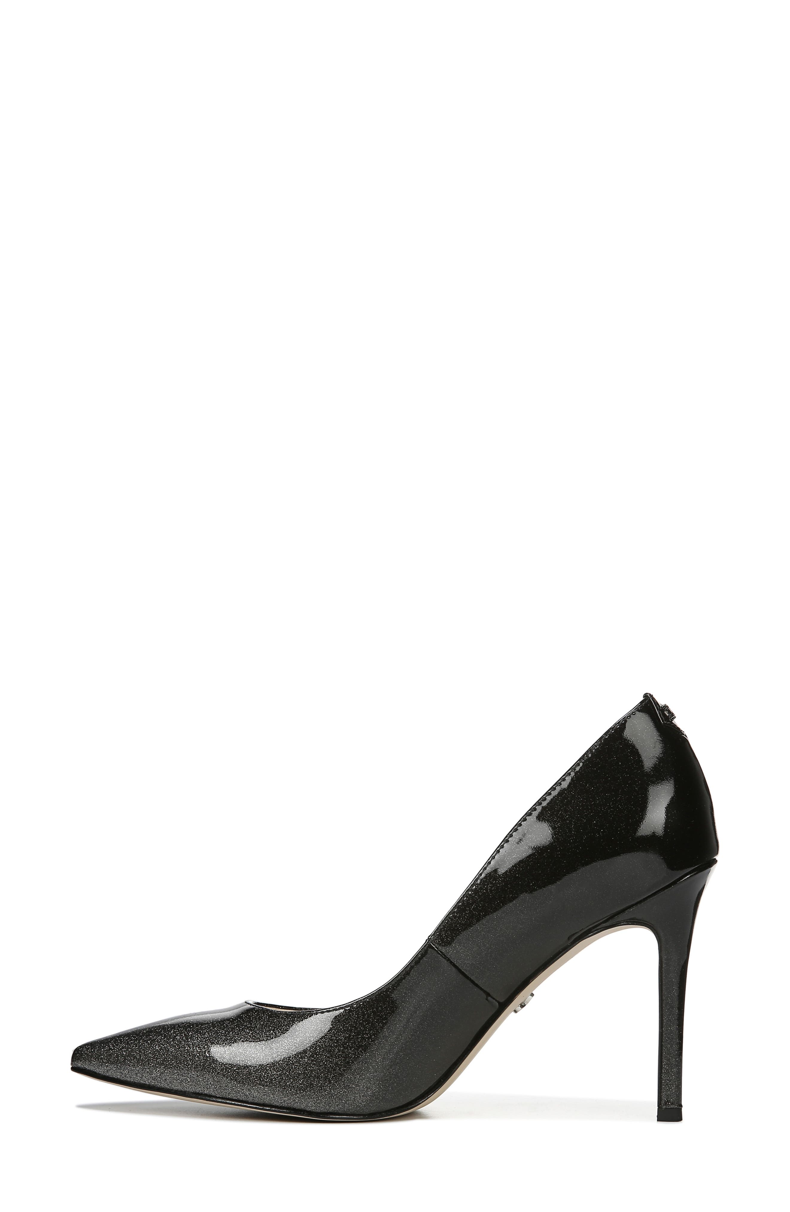 SAM EDELMAN, Hazel Pointy Toe Pump, Alternate thumbnail 8, color, BLACK/ SILVER