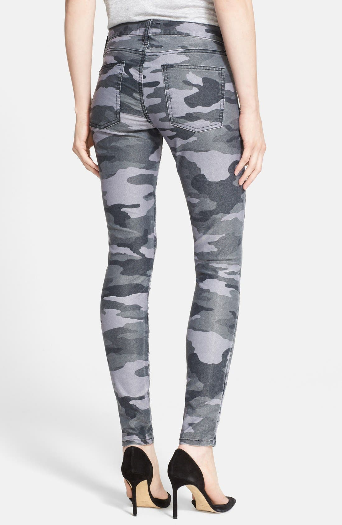 CURRENT/ELLIOTT, 'The Ankle Skinny' Coated Camo Skinny Jeans, Alternate thumbnail 2, color, 009