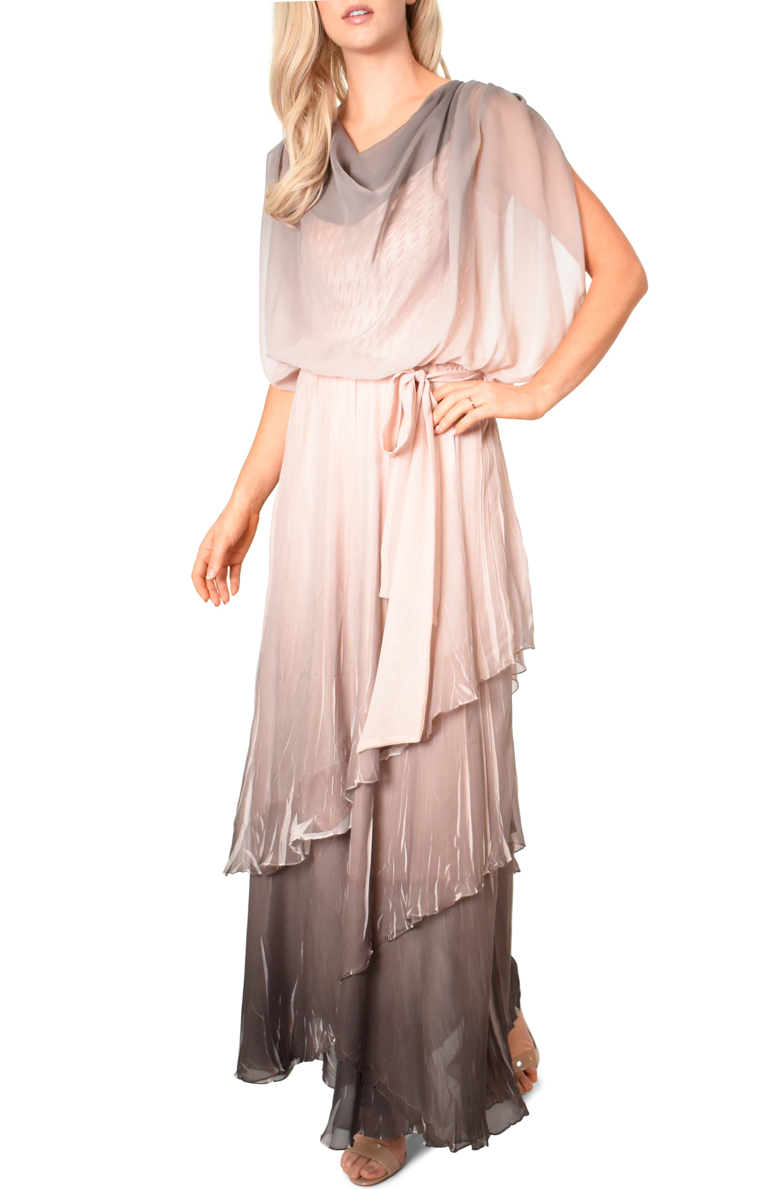 KOMAROV, Drape Chiffon Gown, Main thumbnail 1, color, 250
