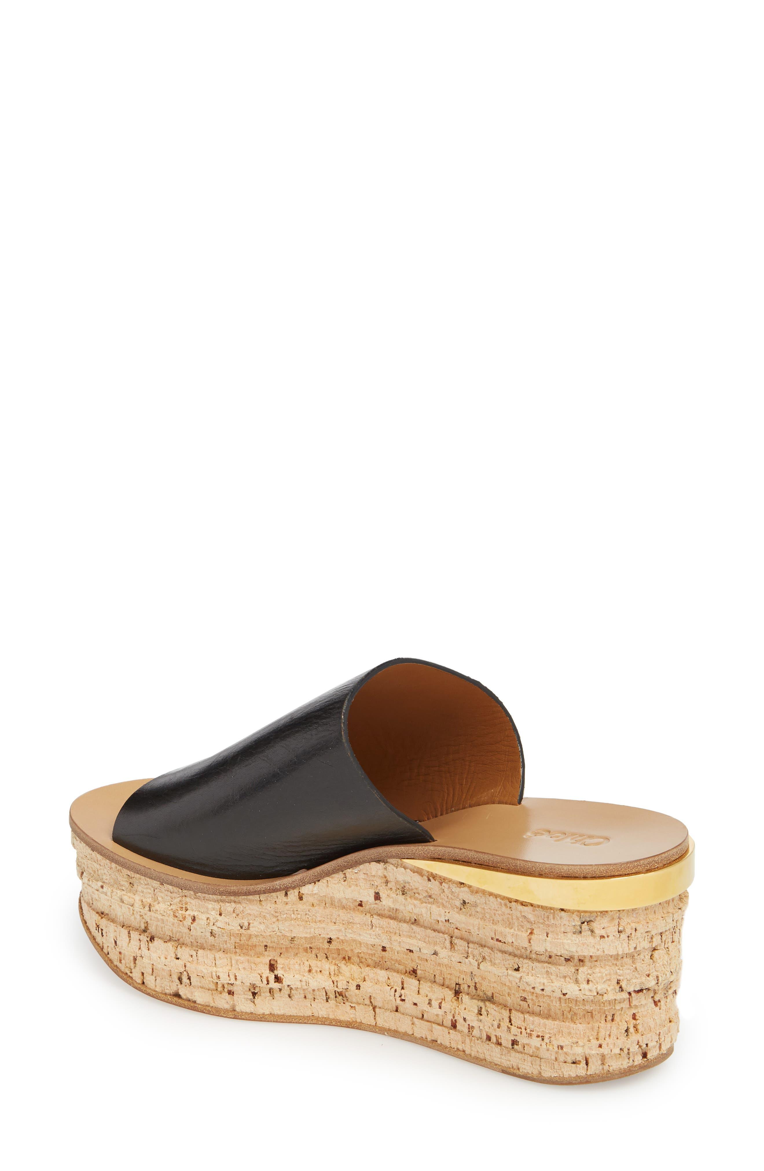 CHLOÉ, Camille Cork Platform Sandal, Alternate thumbnail 2, color, BLACK