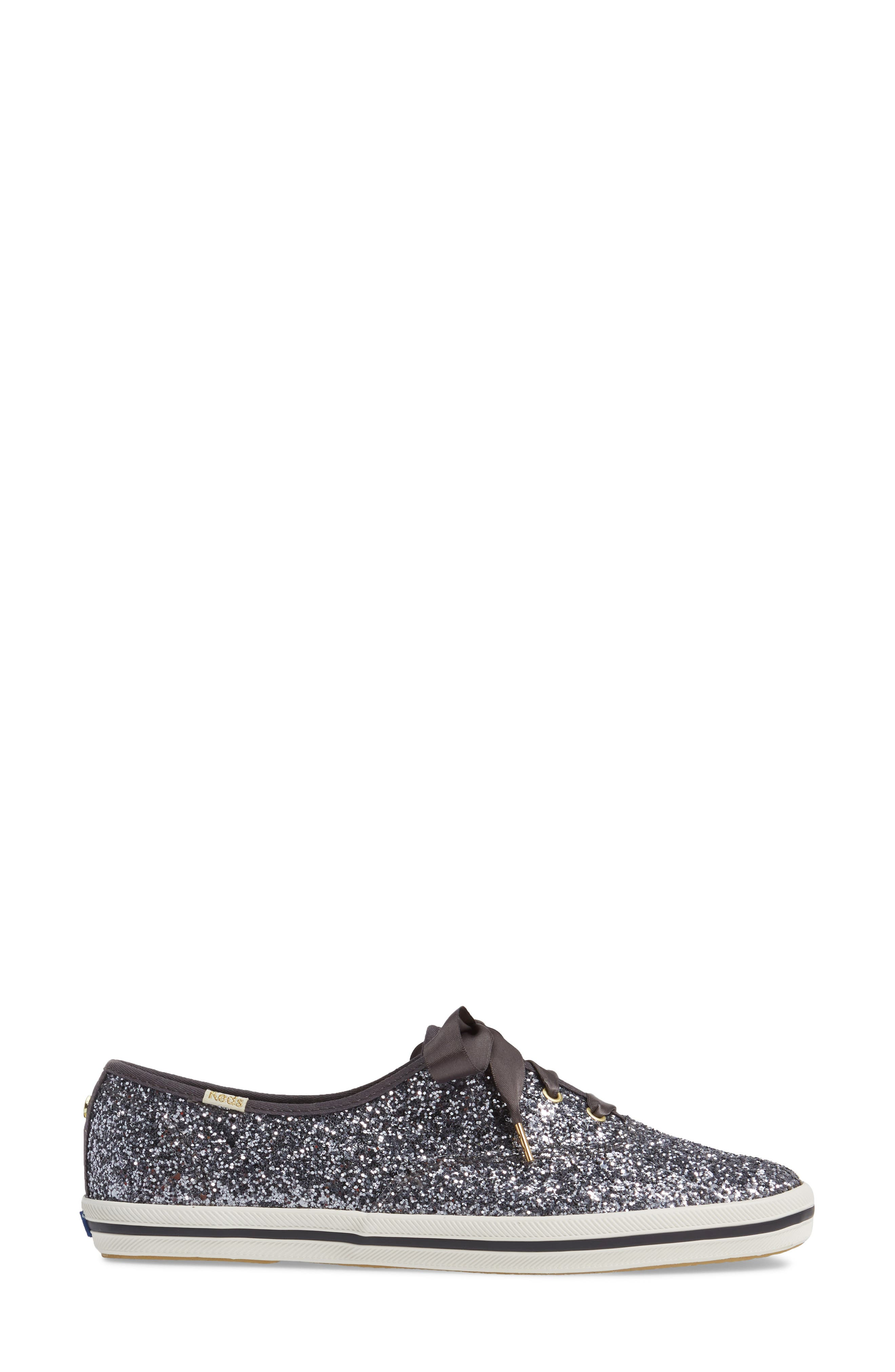 KEDS<SUP>®</SUP> FOR KATE SPADE NEW YORK, glitter sneaker, Alternate thumbnail 3, color, PEWTER