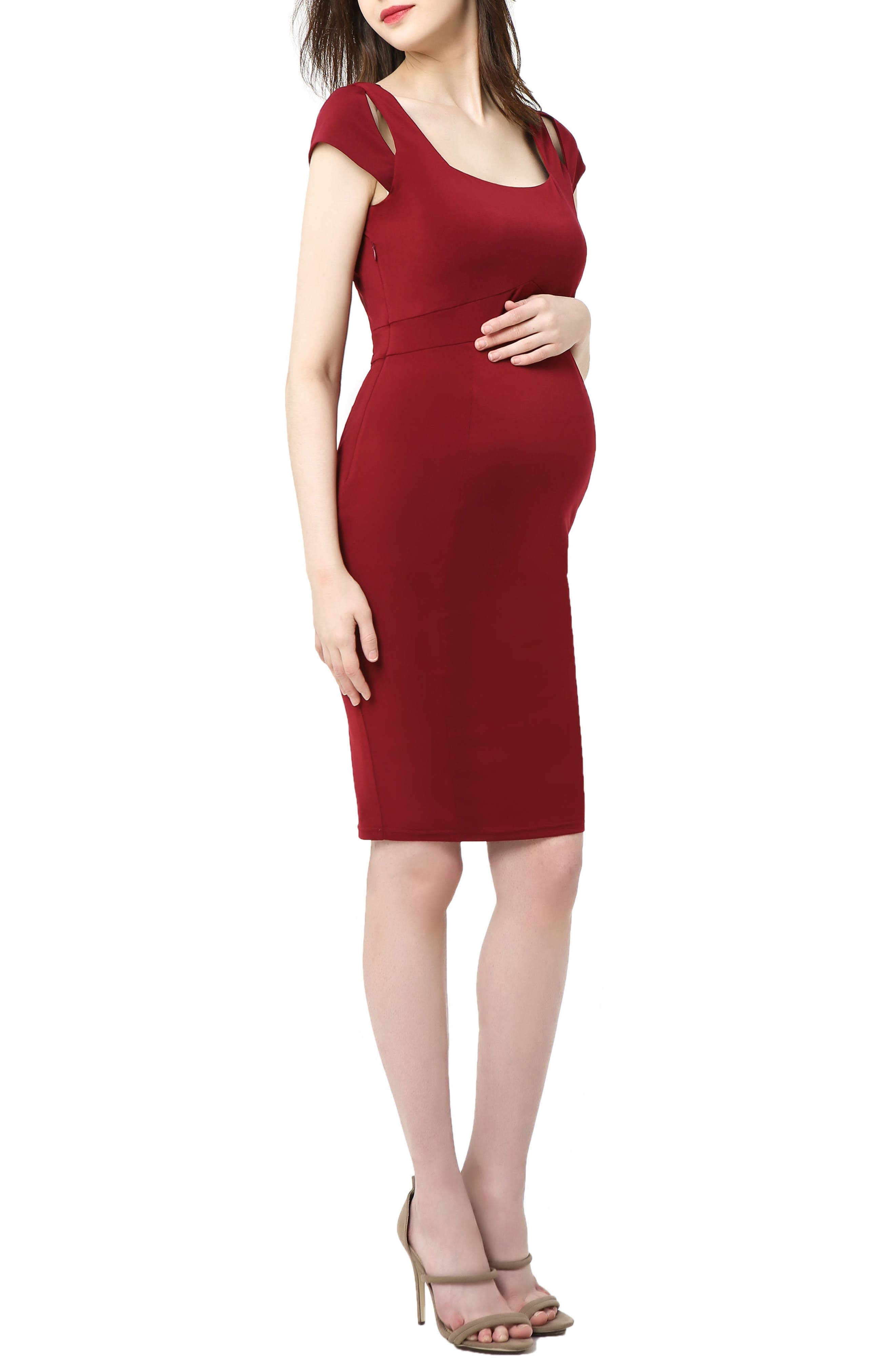 Kimi And Kai Julie Cold Shoulder Body-Con Maternity Dress, Burgundy