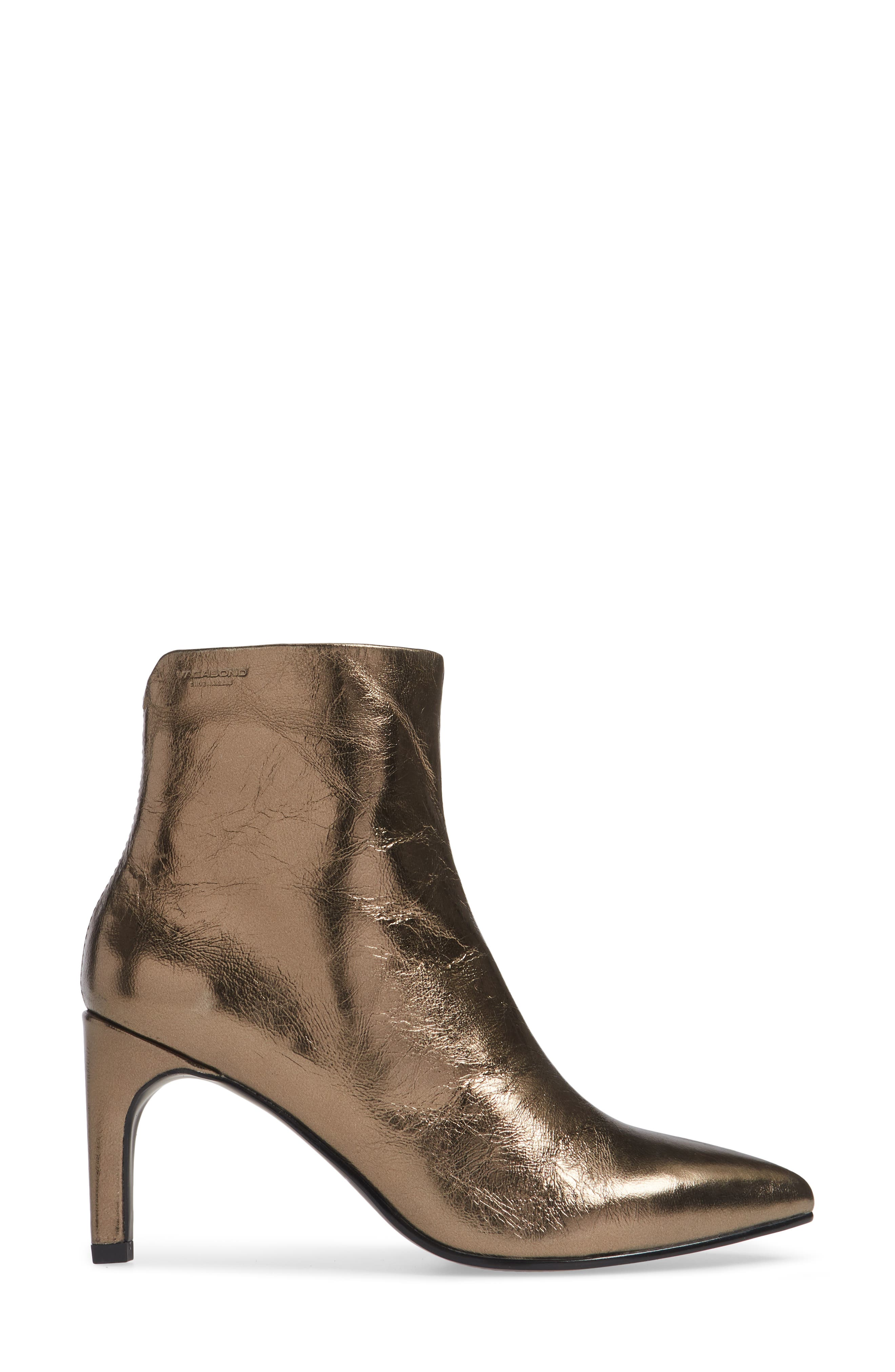 VAGABOND, Shoemakers Whitney Pointy Toe Bootie, Alternate thumbnail 3, color, BRONZE LEATHER