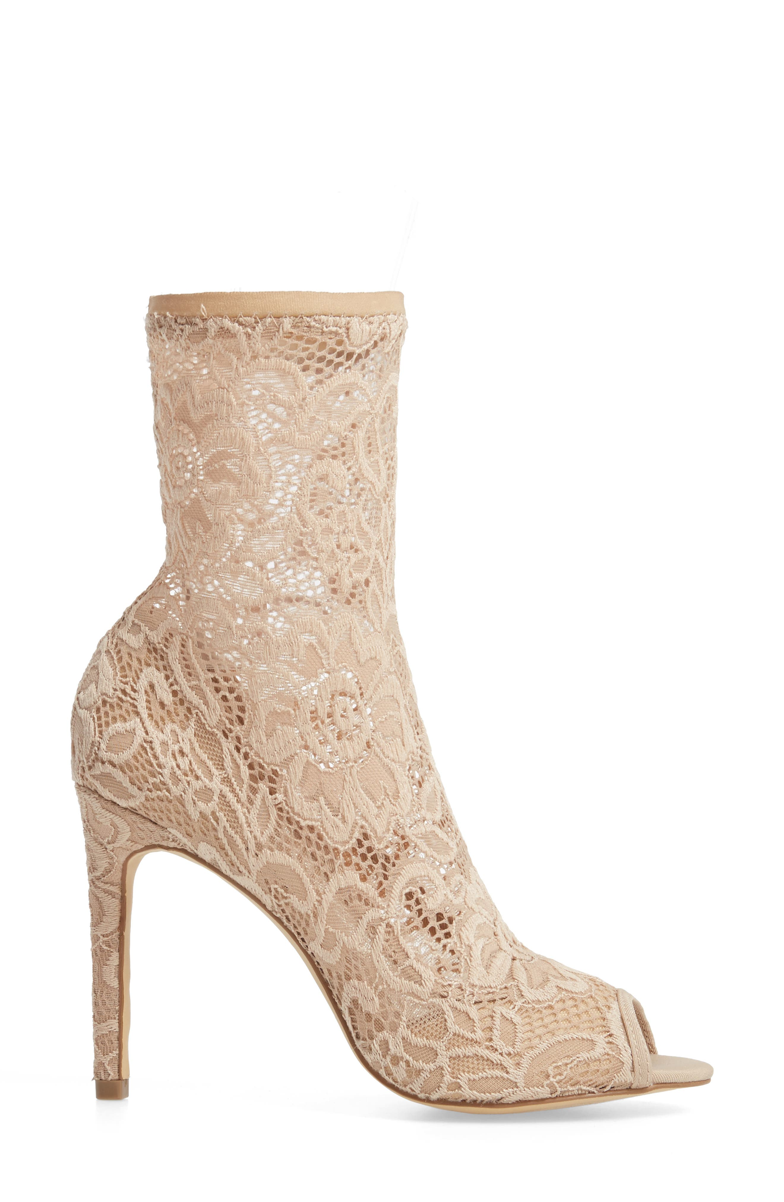 CHARLES BY CHARLES DAVID, Imaginary Lace Sock Bootie, Alternate thumbnail 3, color, NUDE FABRIC