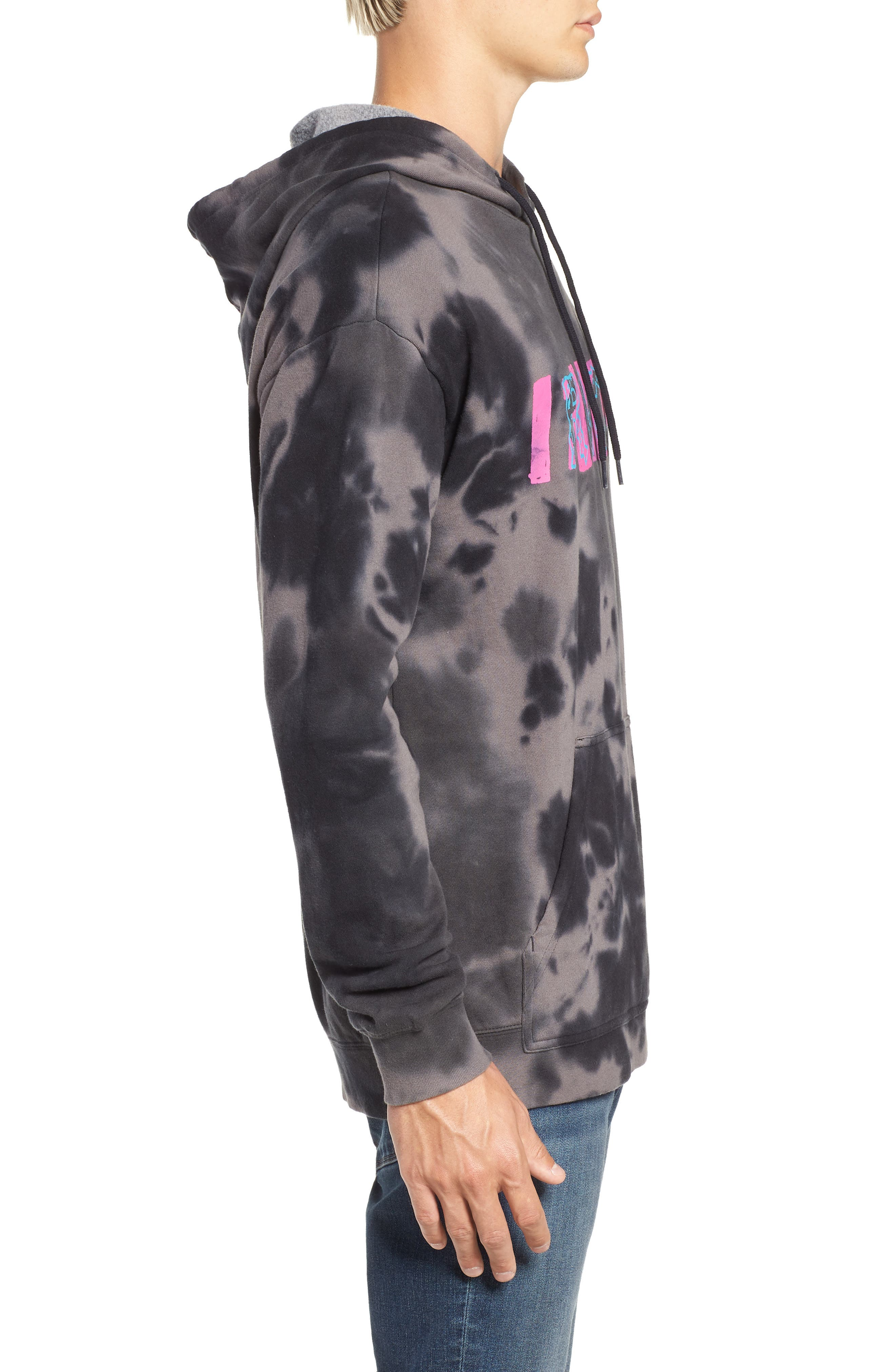 RVCA, Spatter Dyed Pullover Hoodie, Alternate thumbnail 3, color, BLACK