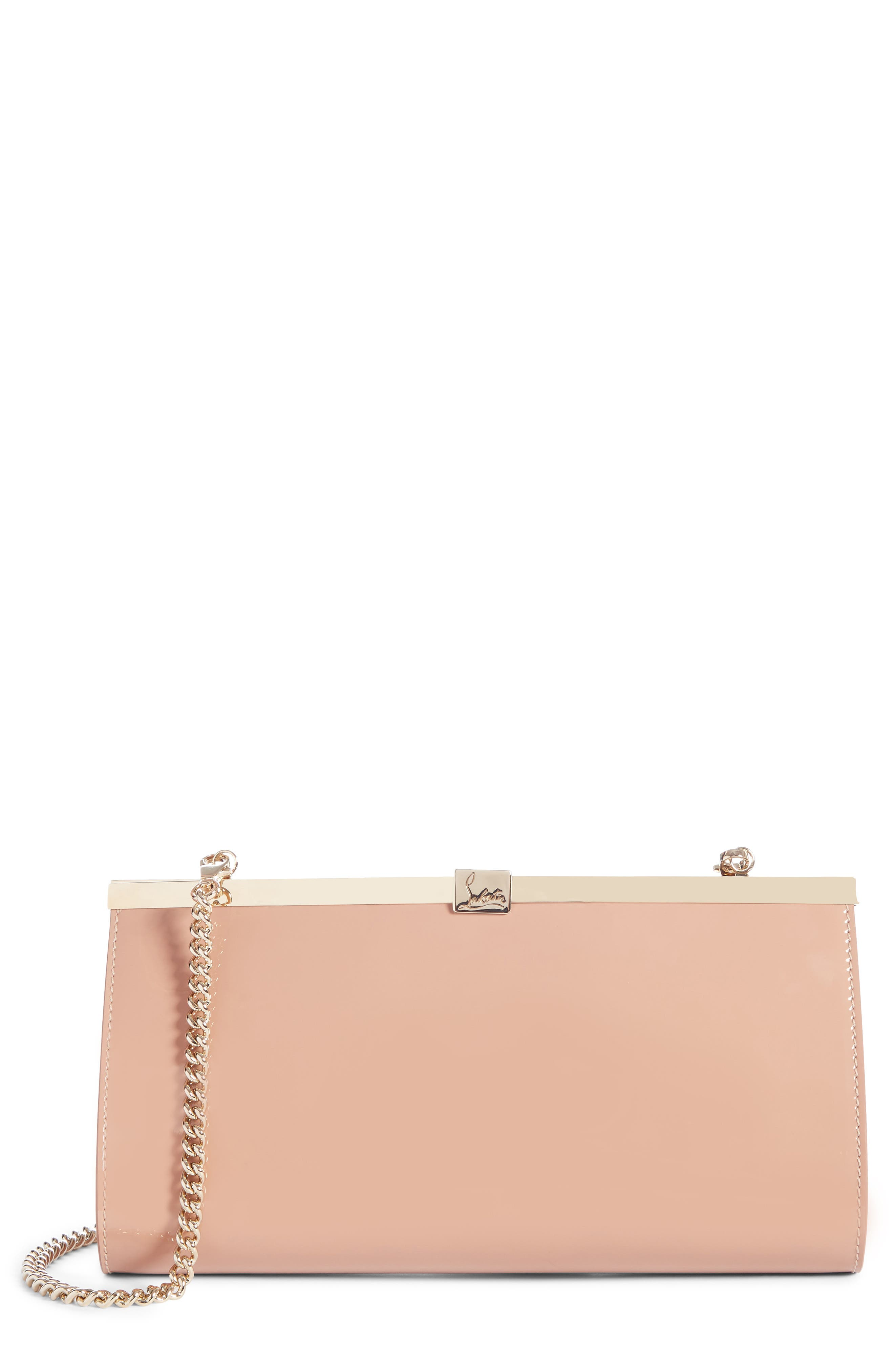 CHRISTIAN LOUBOUTIN, Palmette Patent Leather Frame Clutch, Main thumbnail 1, color, NUDE