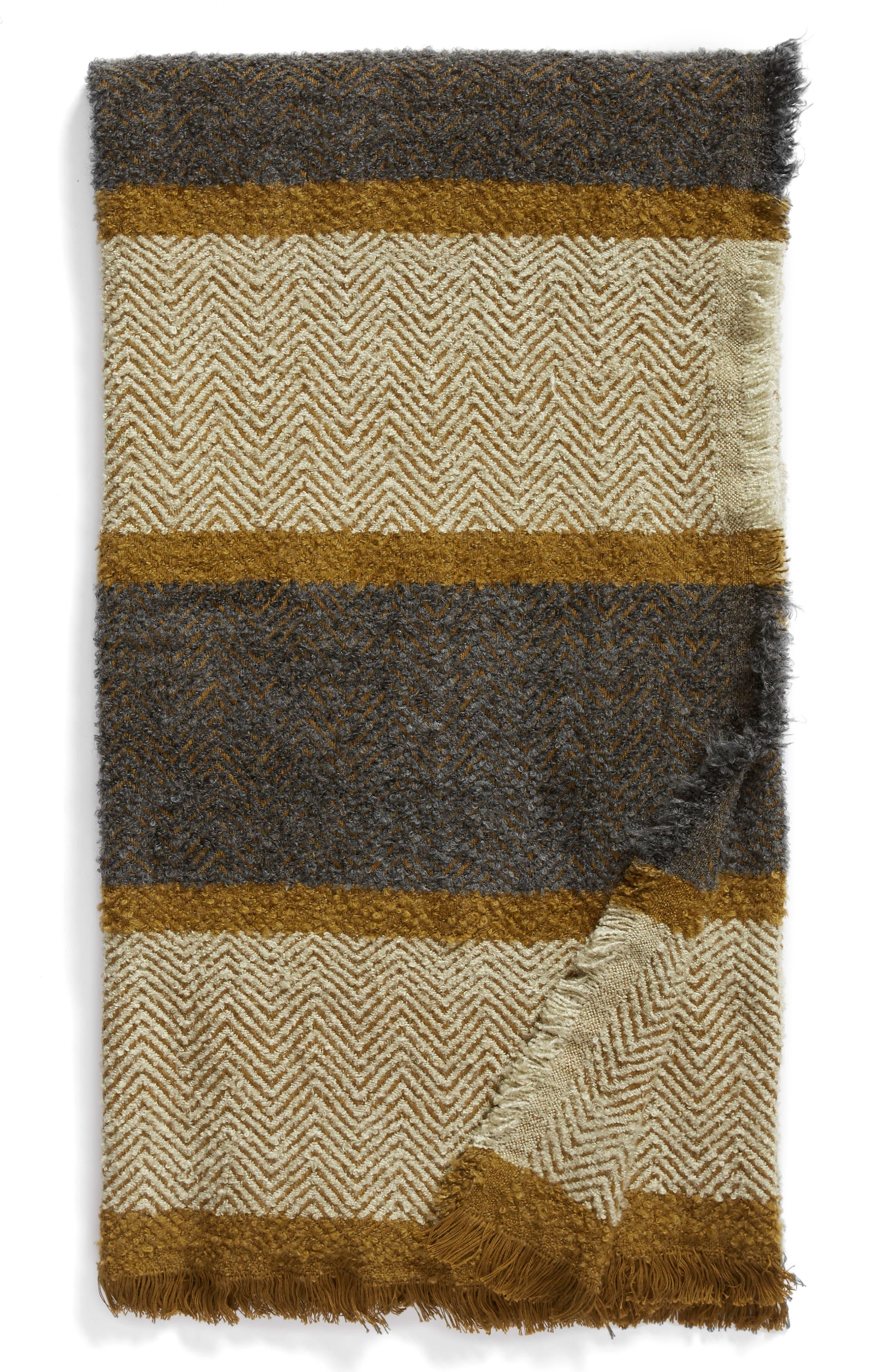 TREASURE & BOND, Herringbone Stripe Throw, Main thumbnail 1, color, GREY ONYX