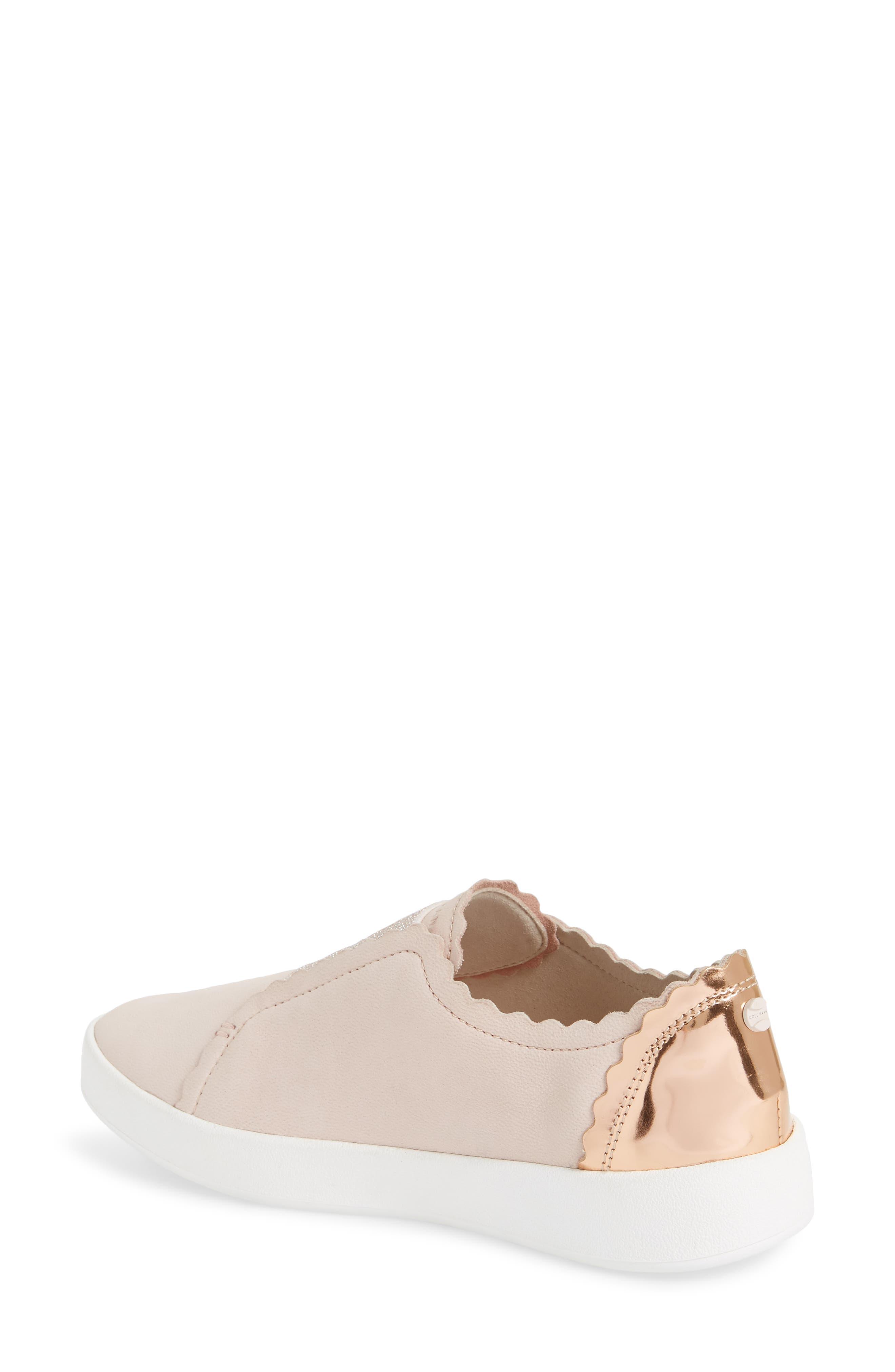 COLE HAAN, GrandPro Spectator Scalloped Slip-On Sneaker, Alternate thumbnail 2, color, PEACH BLUSH NUBUCK