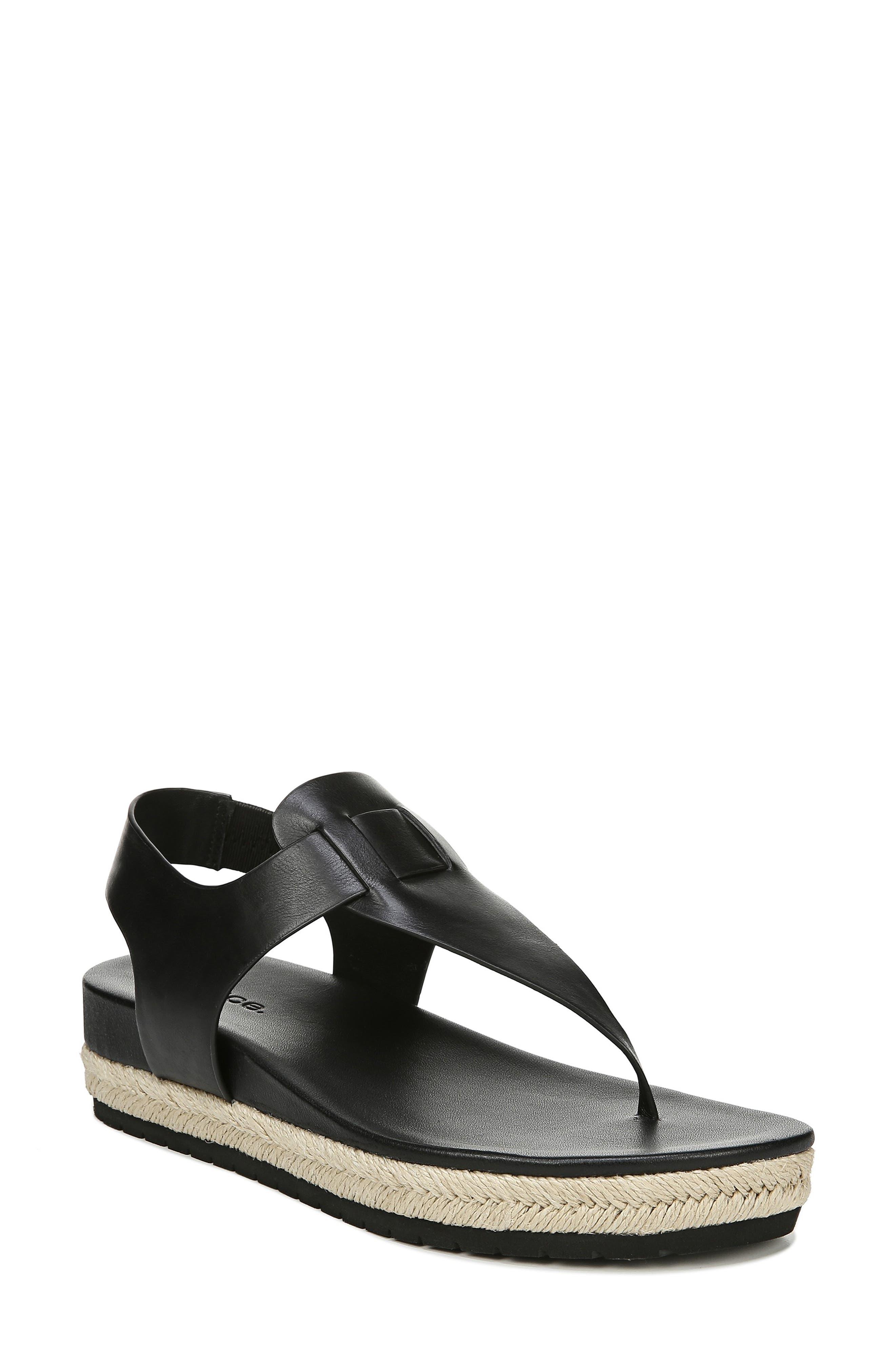 VINCE Flint Espadrille Thong Sandal, Main, color, BLACK