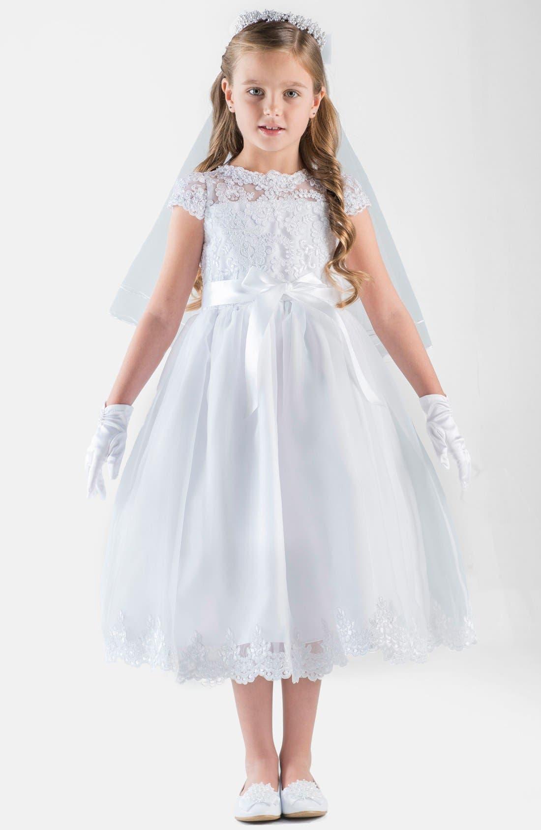 US ANGELS, Cap Sleeve Illusion Lace Dress, Main thumbnail 1, color, 100