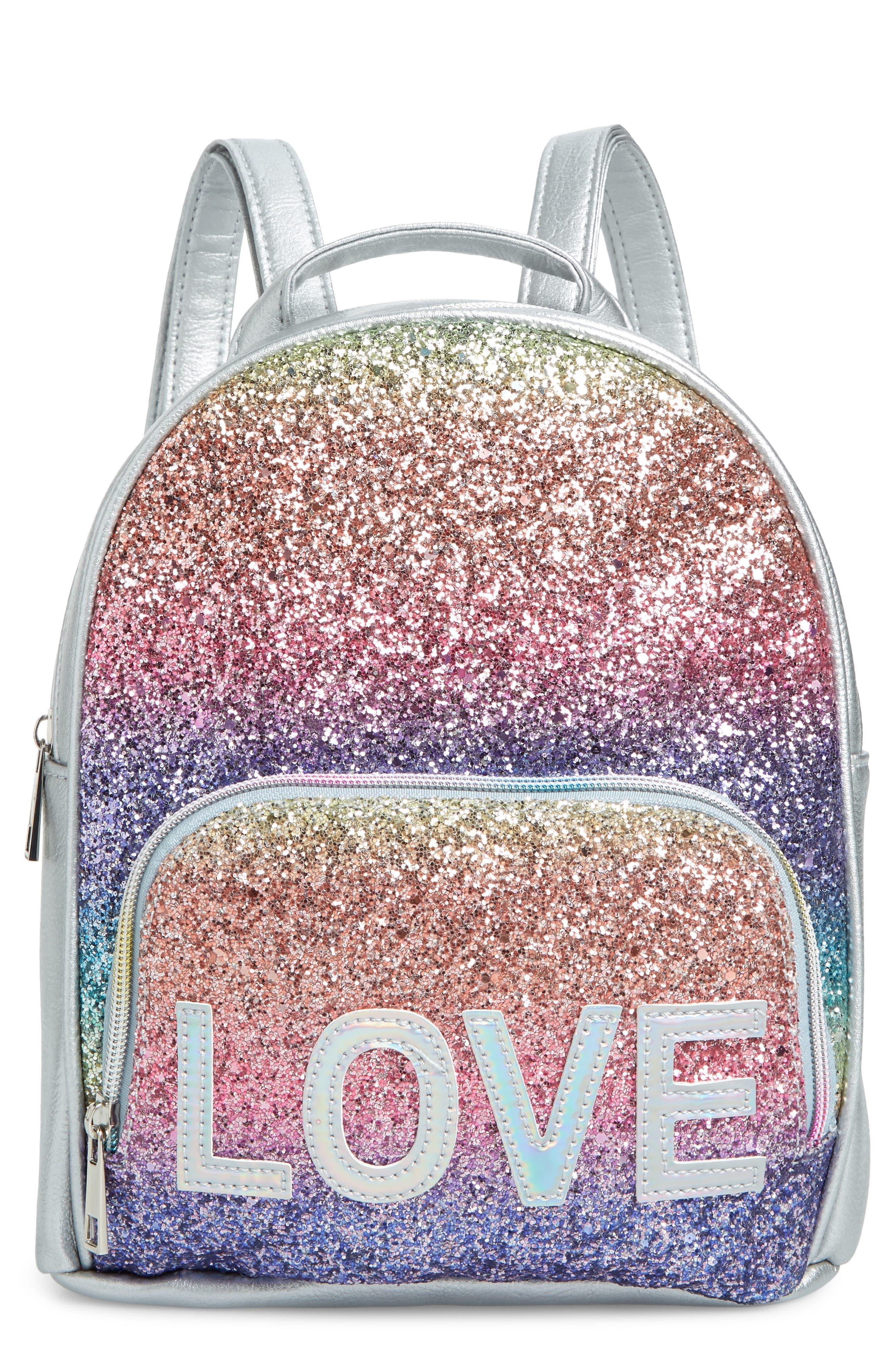 Girls Omg Love Rainbow Glitter Mini Backpack  Metallic
