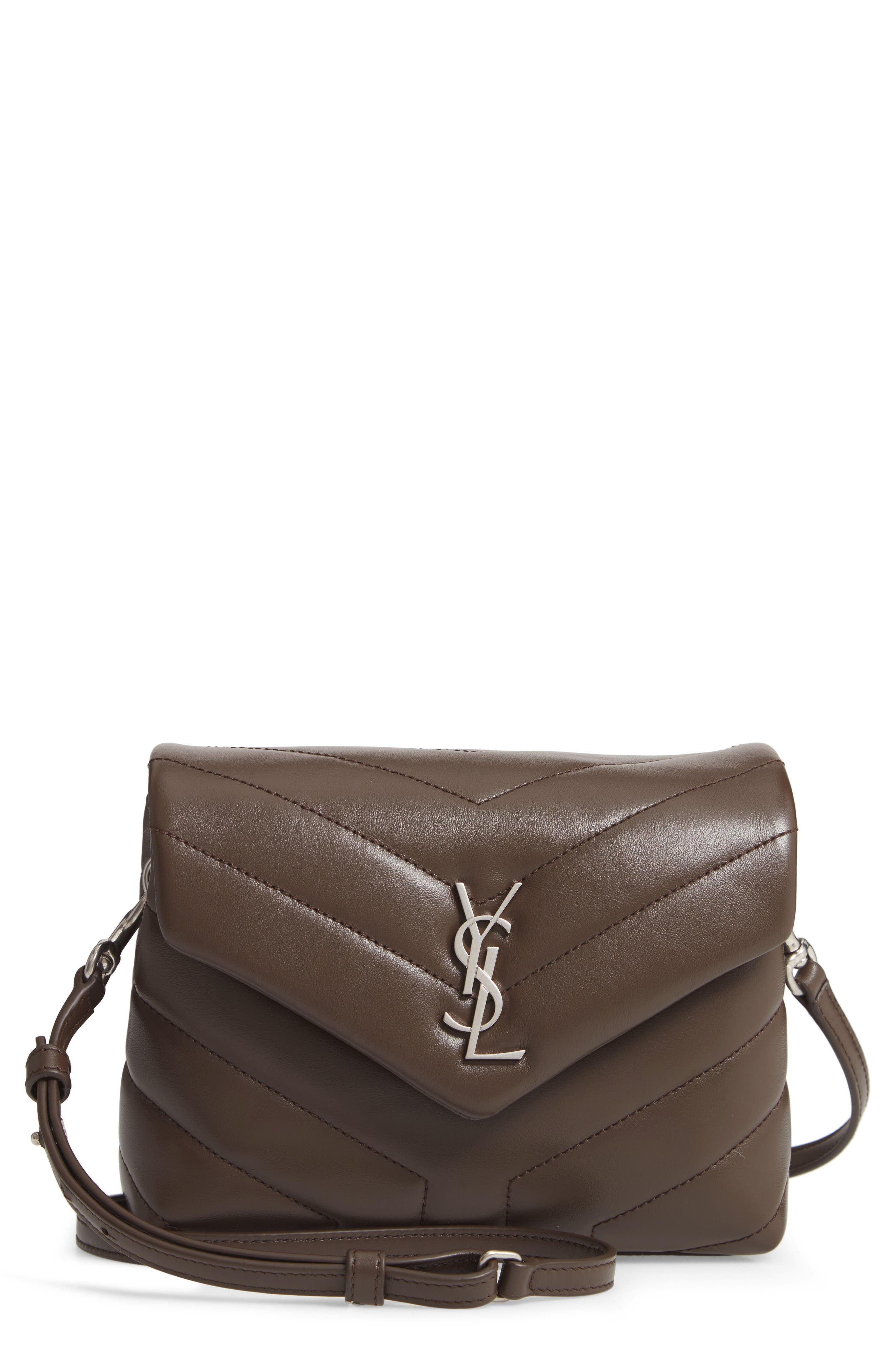 SAINT LAURENT, Toy Loulou Calfskin Leather Crossbody Bag, Main thumbnail 1, color, FAGGIO