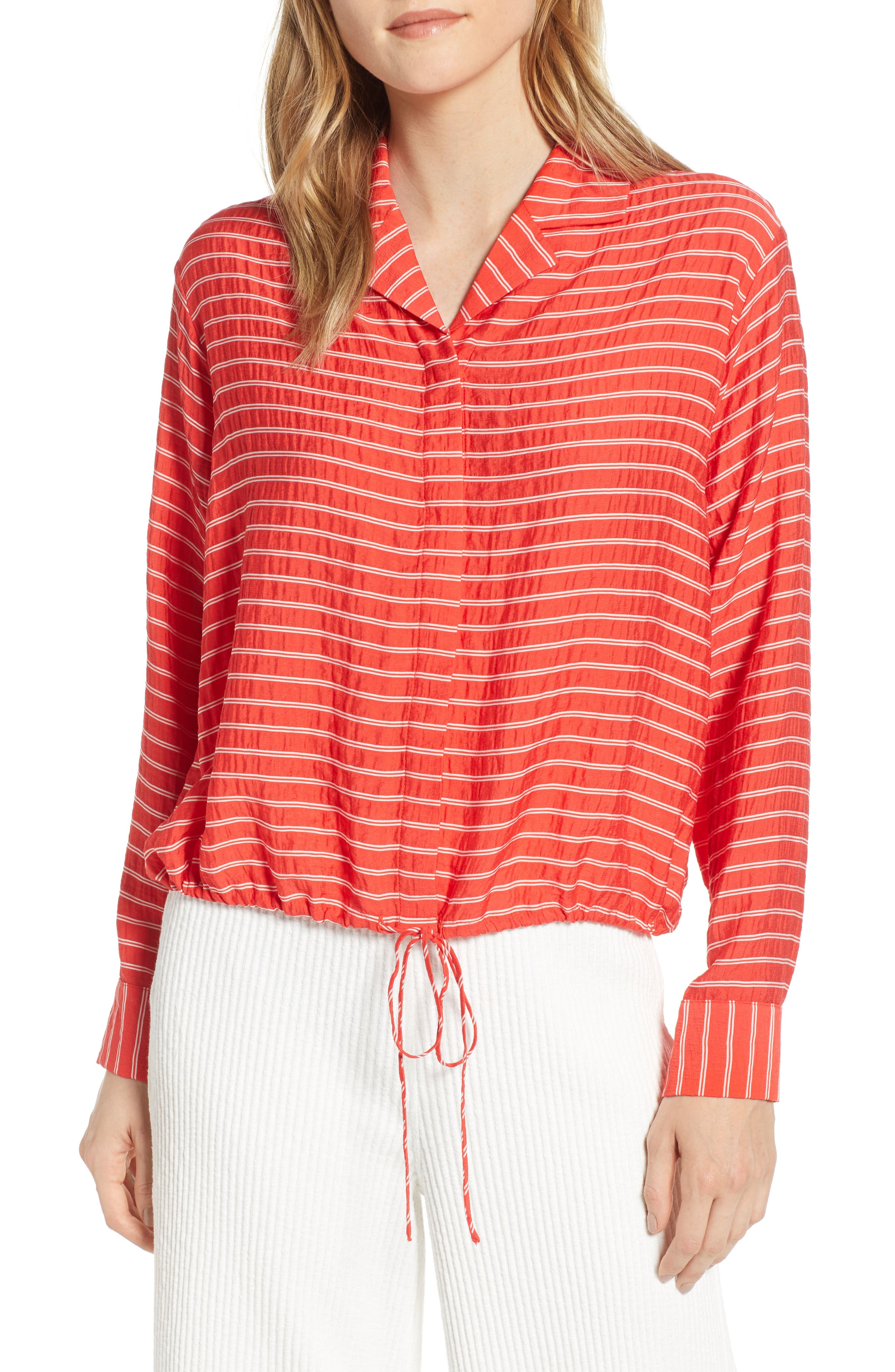 LOU & GREY Sunny Stripe Drawstring Waist Blouse, Main, color, 600