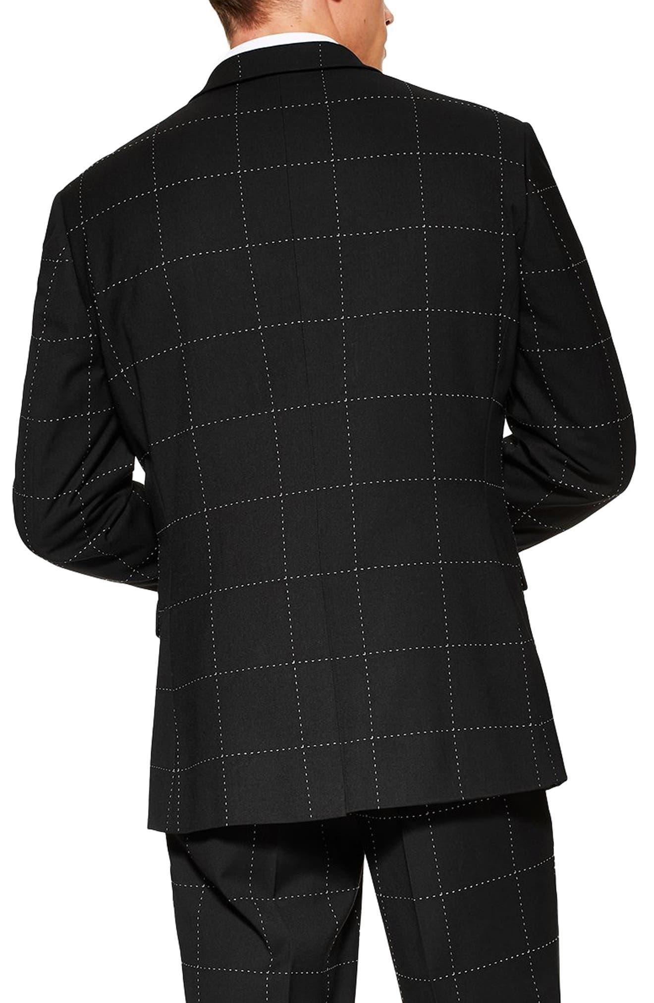 TOPMAN, Slim Fit Topstitch Suit Jacket, Alternate thumbnail 2, color, BLACK