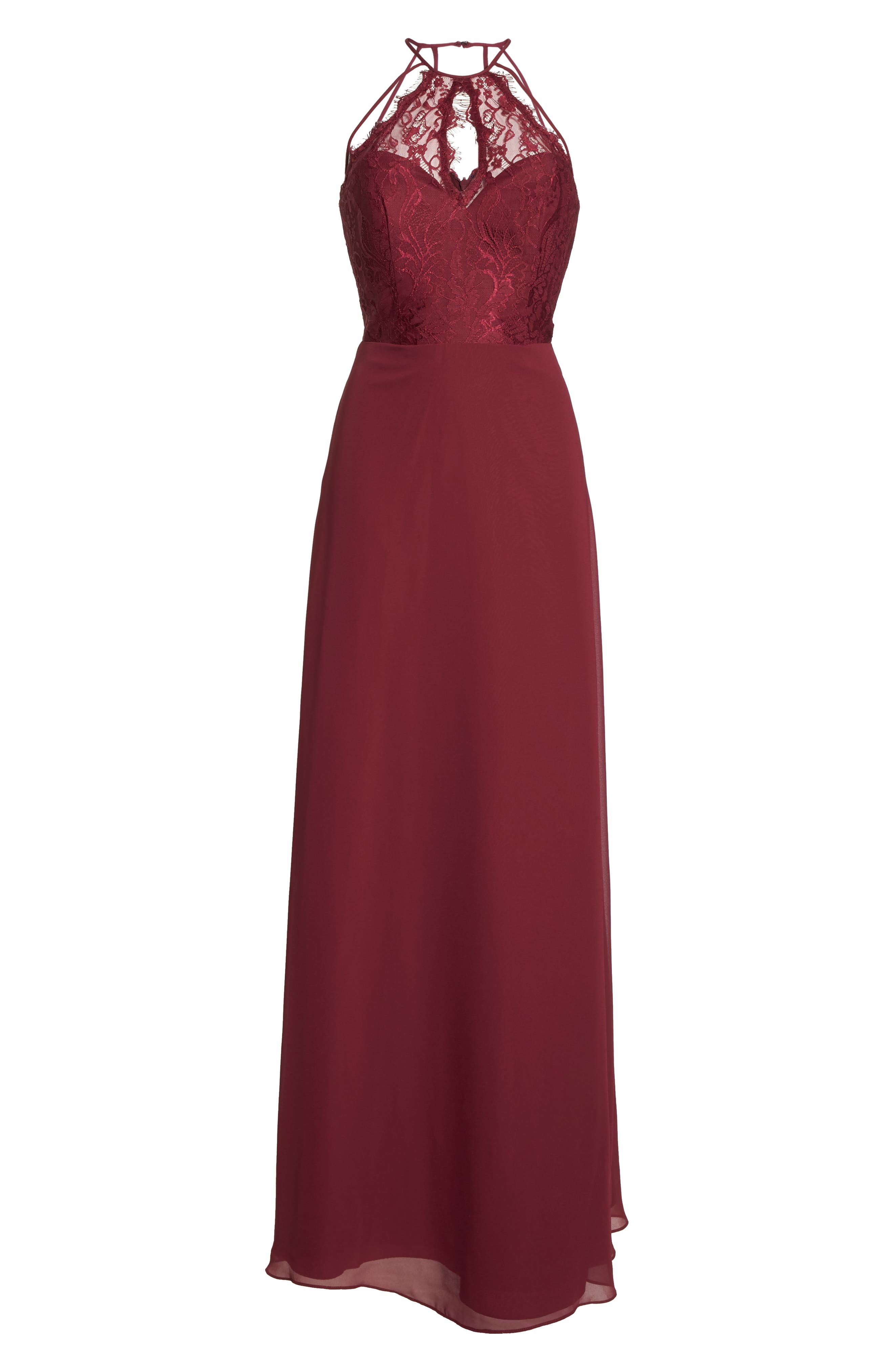 HAYLEY PAIGE OCCASIONS, Lace & Chiffon Halter Gown, Alternate thumbnail 7, color, BURGUNDY