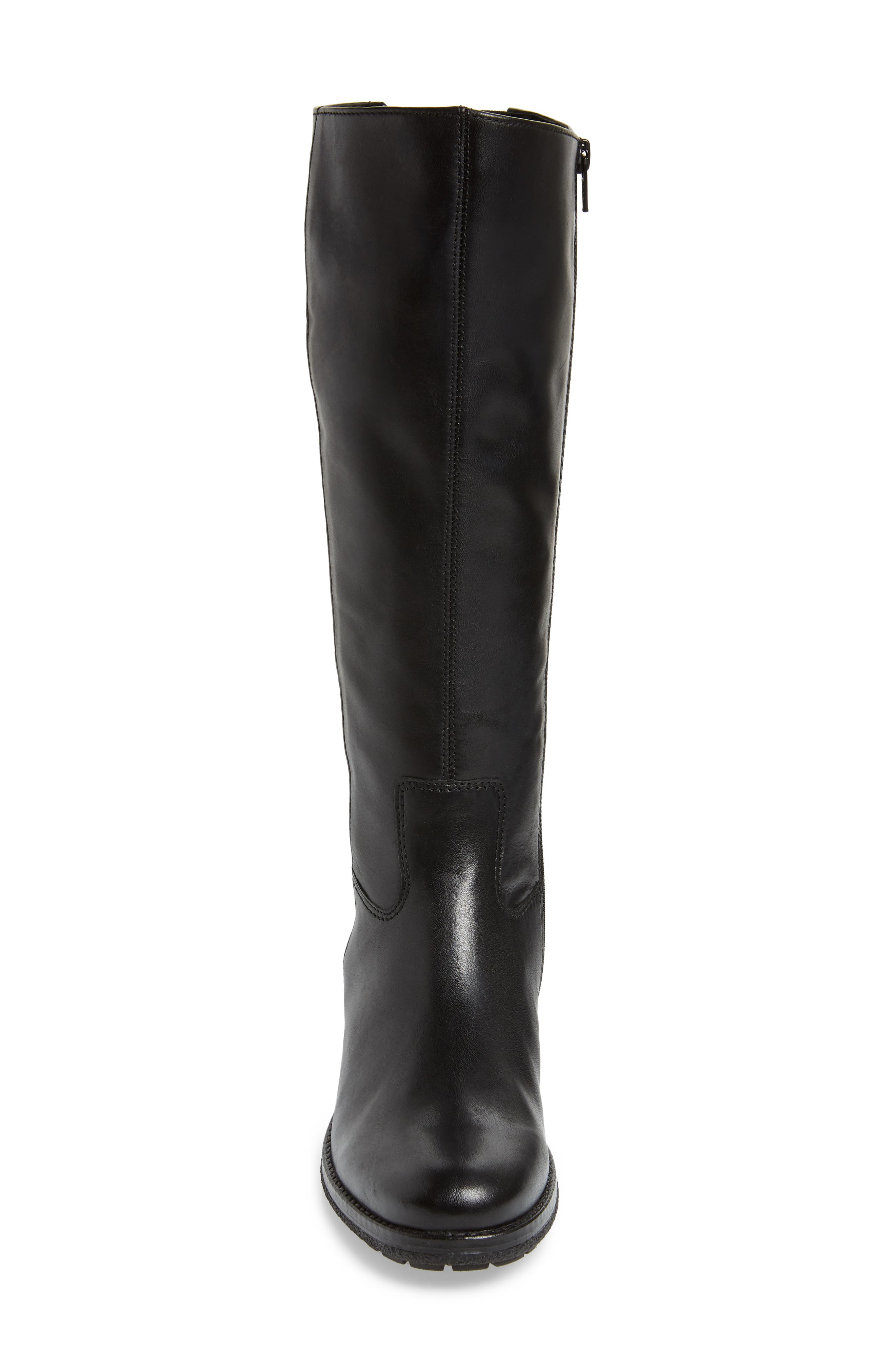 GABOR, Classic Comfort Knee High Riding Boot, Alternate thumbnail 4, color, BLACK LEATHER