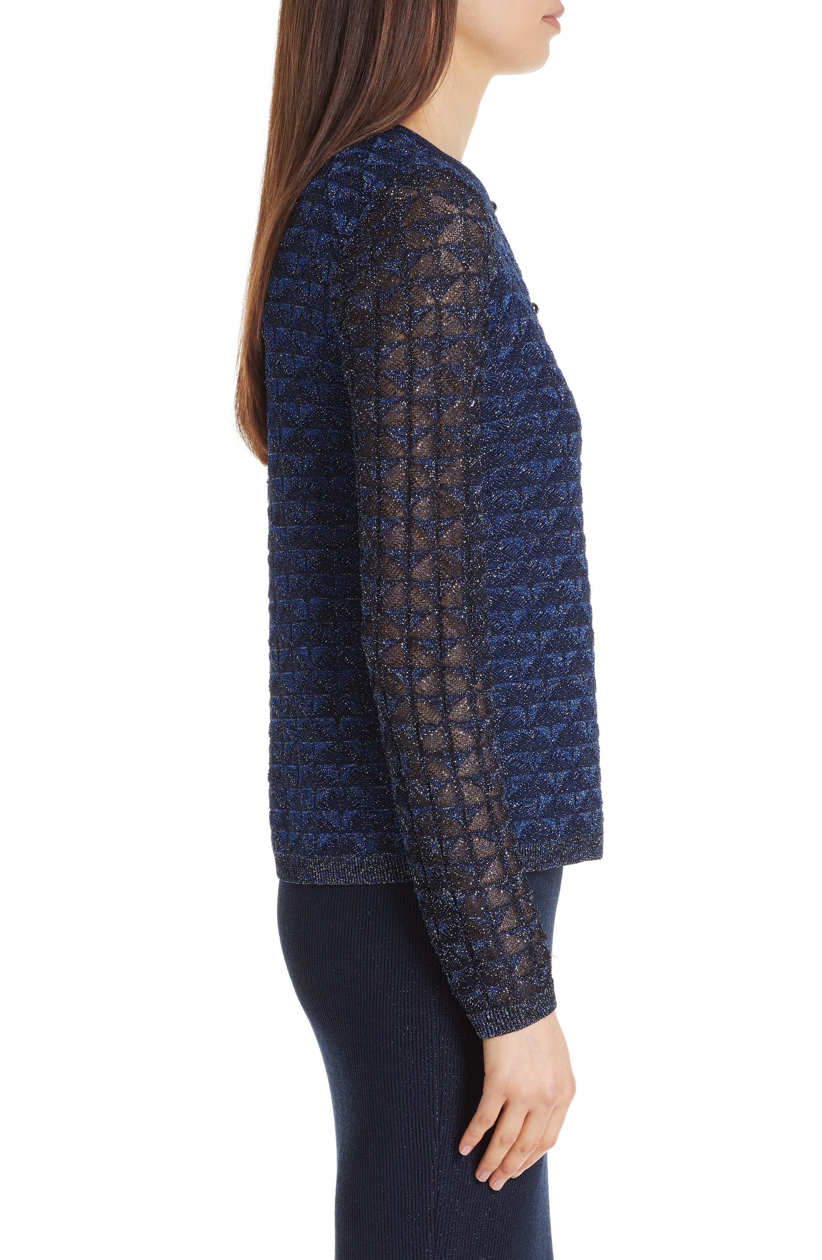 ST. JOHN COLLECTION, Diamond Lace Knit Cardigan, Alternate thumbnail 4, color, NAVY MULTI