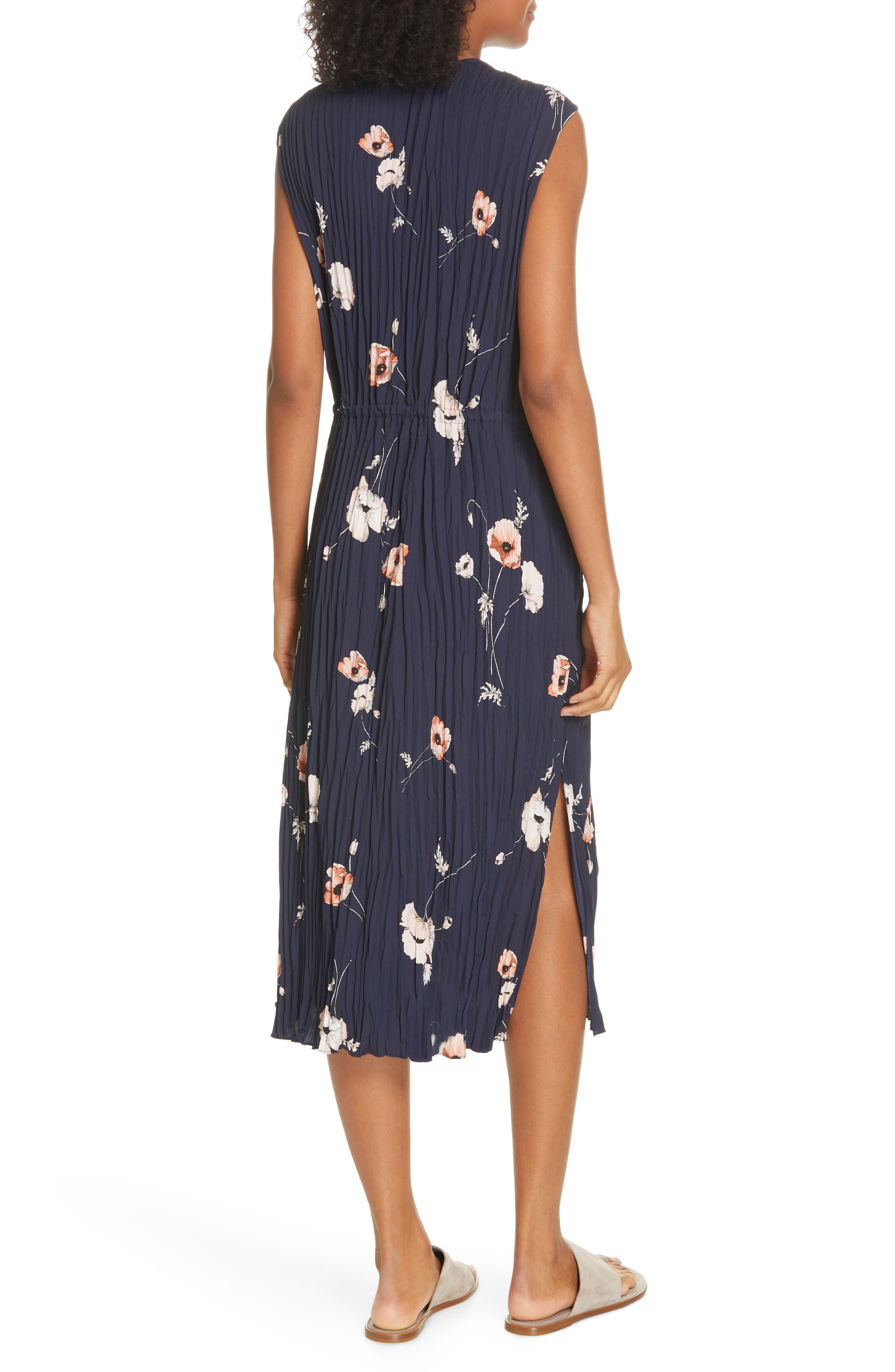 VINCE, Tossed Poppy Pleated Midi Dress, Alternate thumbnail 2, color, 427