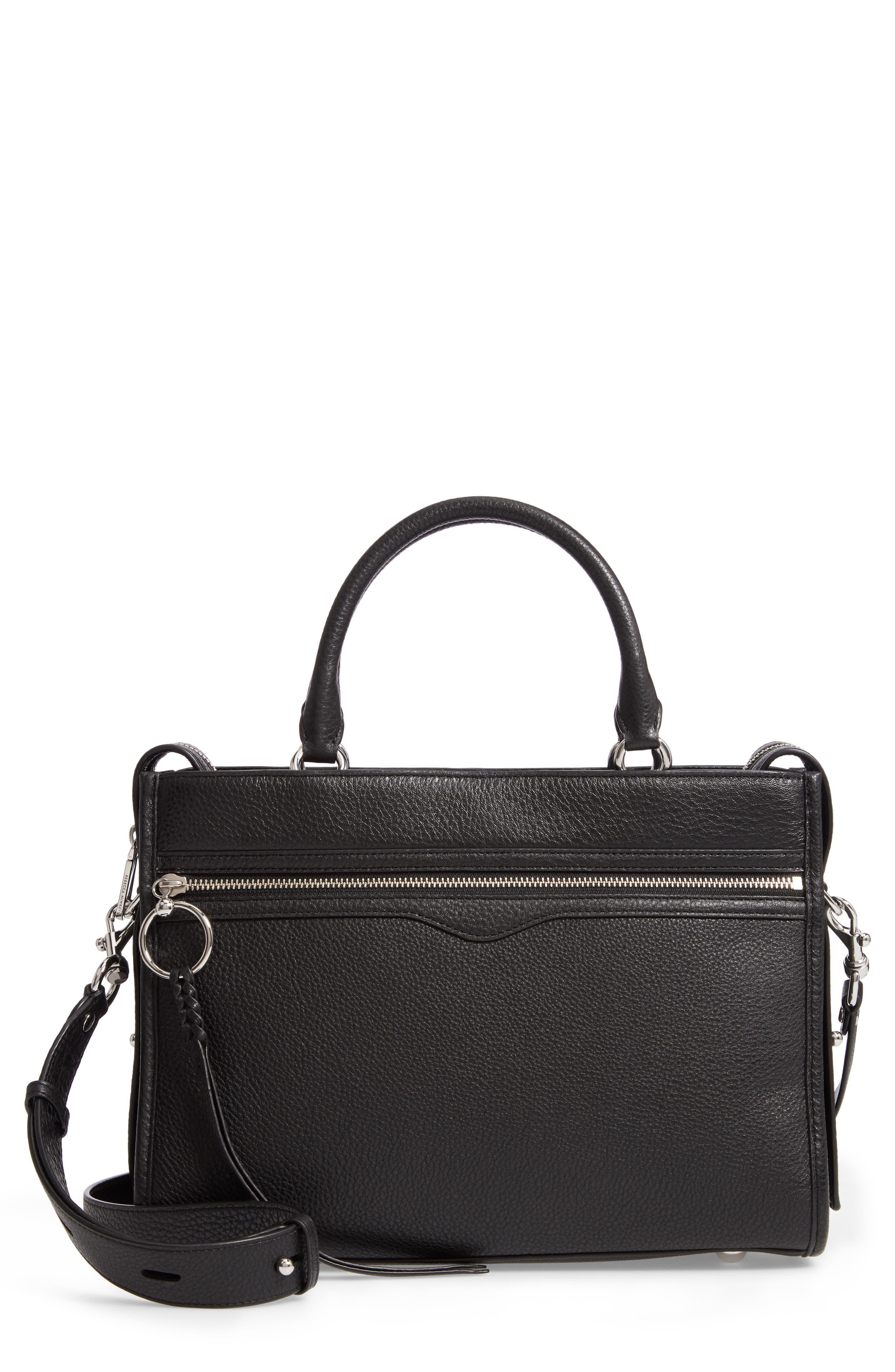 REBECCA MINKOFF Bedford Zip Leather Satchel, Main, color, BLACK