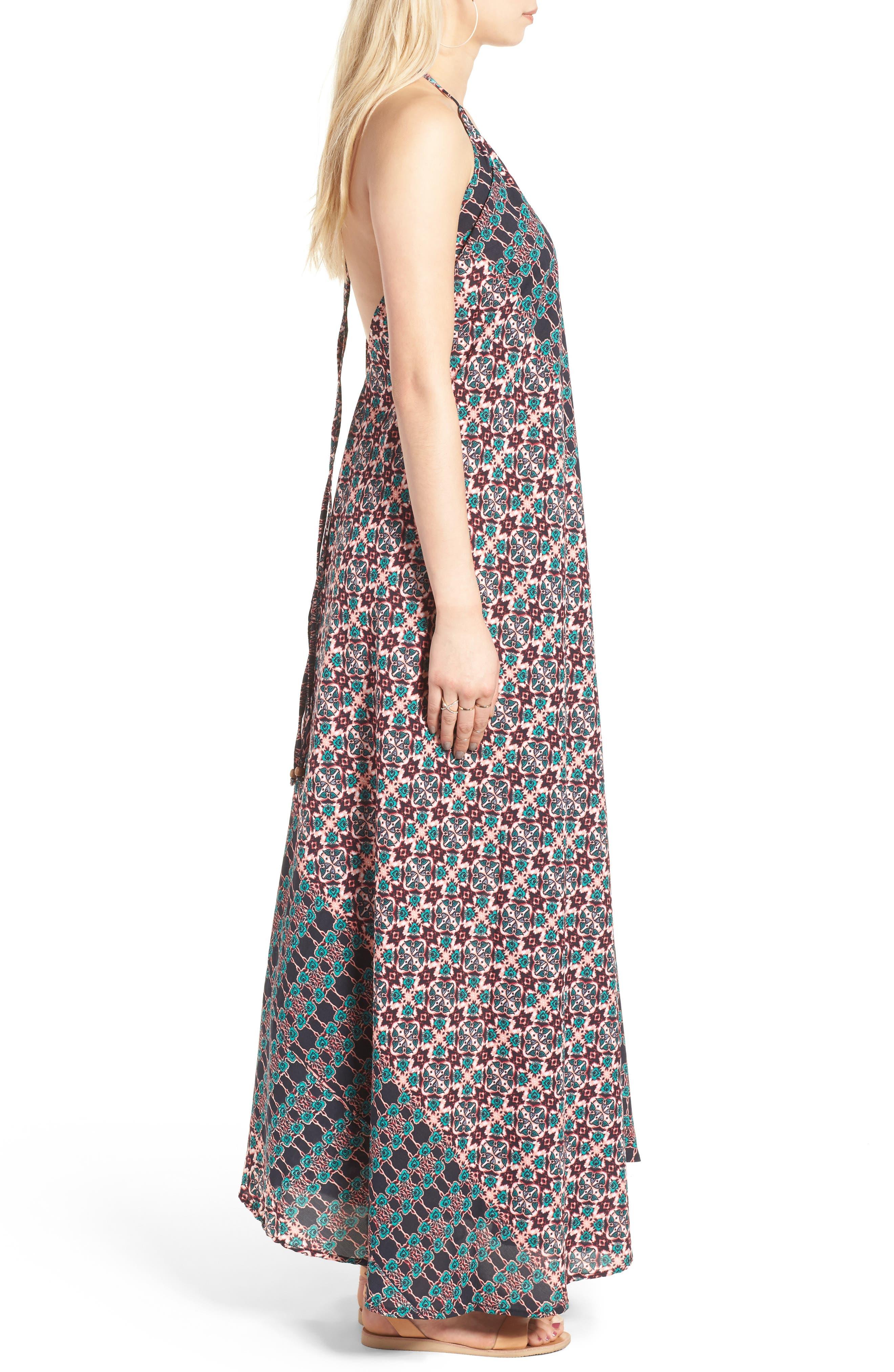 RAGA, Electric Nights Halter Maxi Dress, Alternate thumbnail 3, color, 001