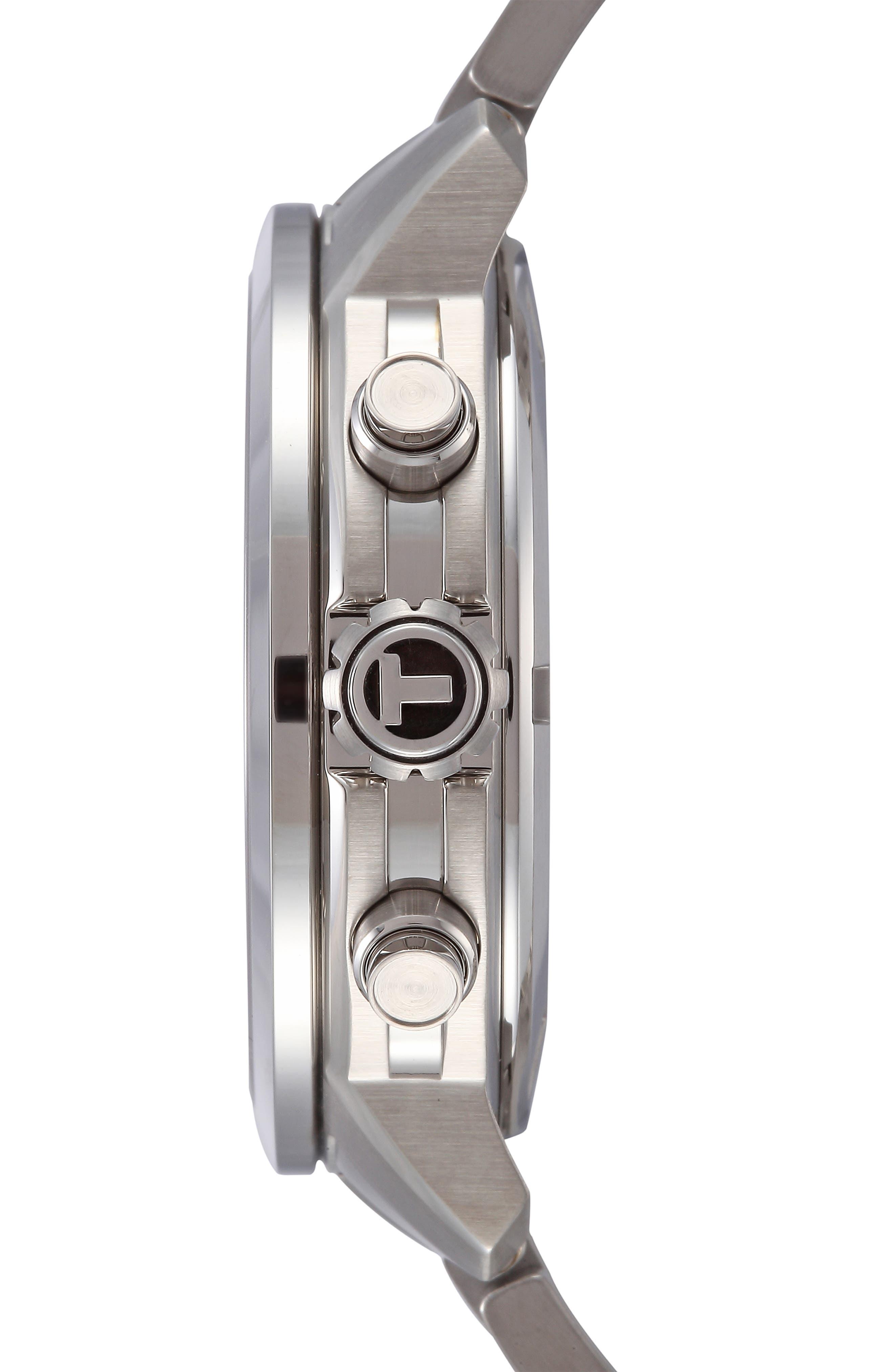 TISSOT, PRC200 Chronograph Bracelet Watch, 42mm, Alternate thumbnail 3, color, SILVER/ BLACK/ SILVER