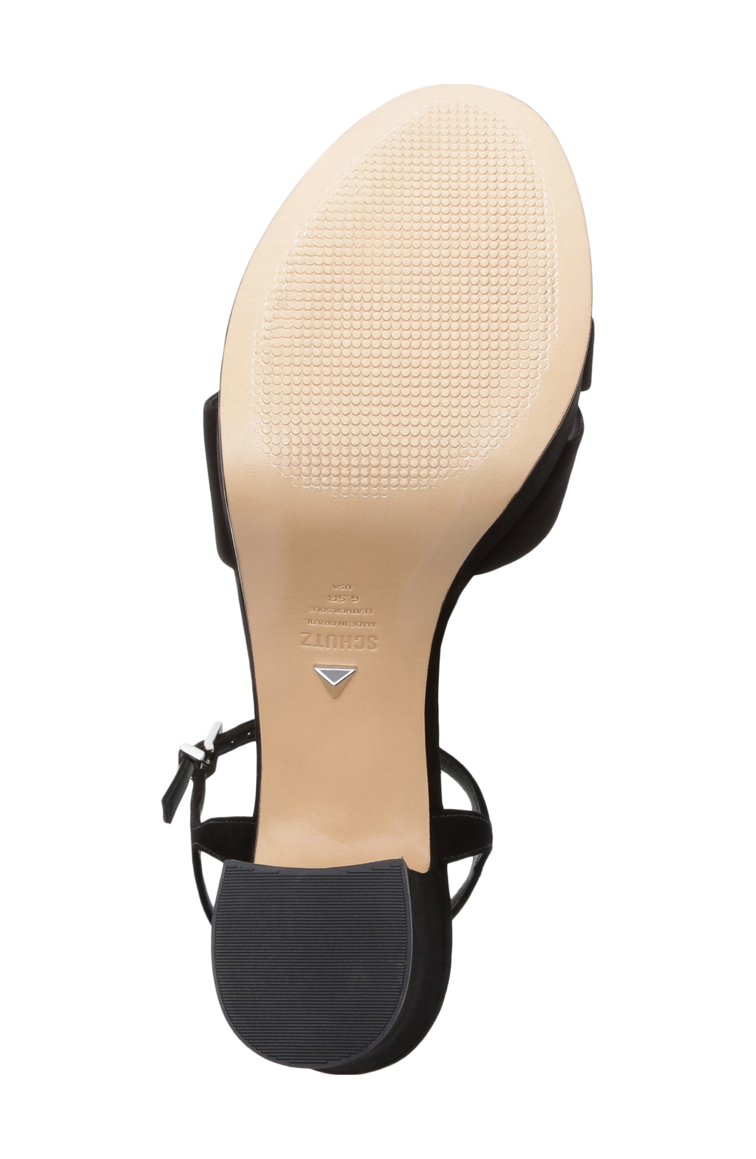 SCHUTZ, Keefa Platform Sandal, Alternate thumbnail 6, color, BLACK NUBUCK LEATHER