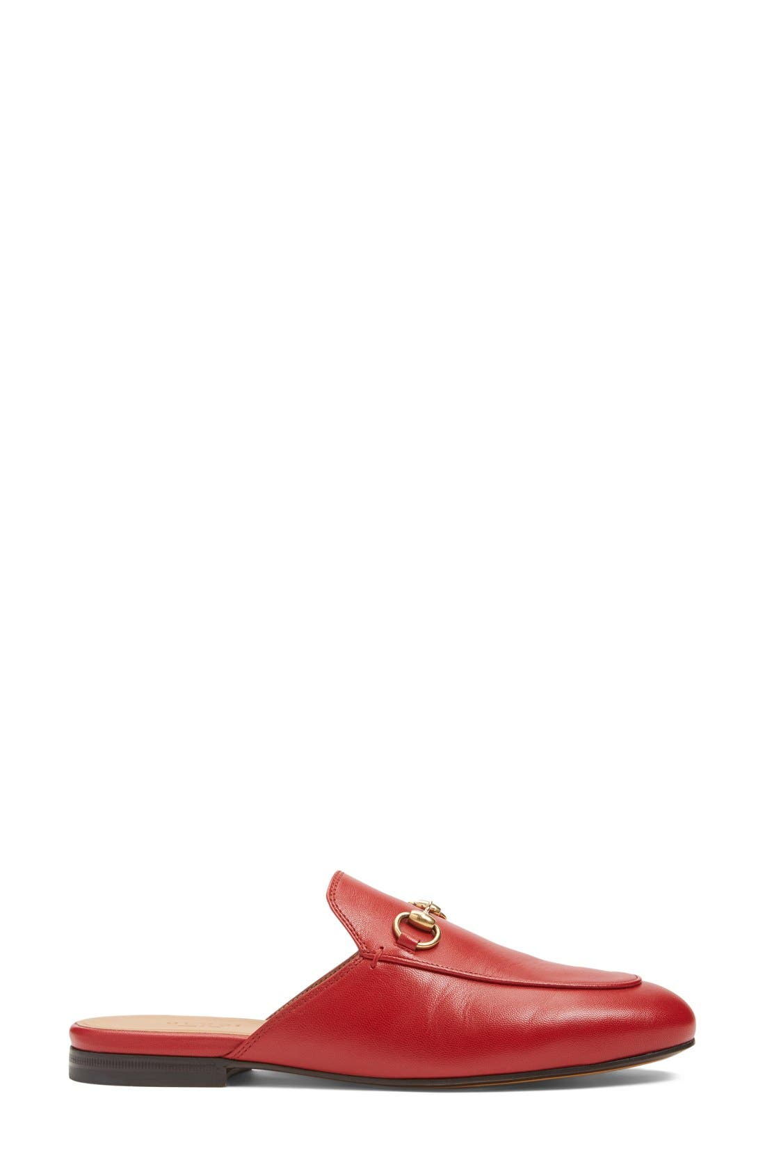 GUCCI, Princetown Loafer Mule, Alternate thumbnail 3, color, RED LEATHER