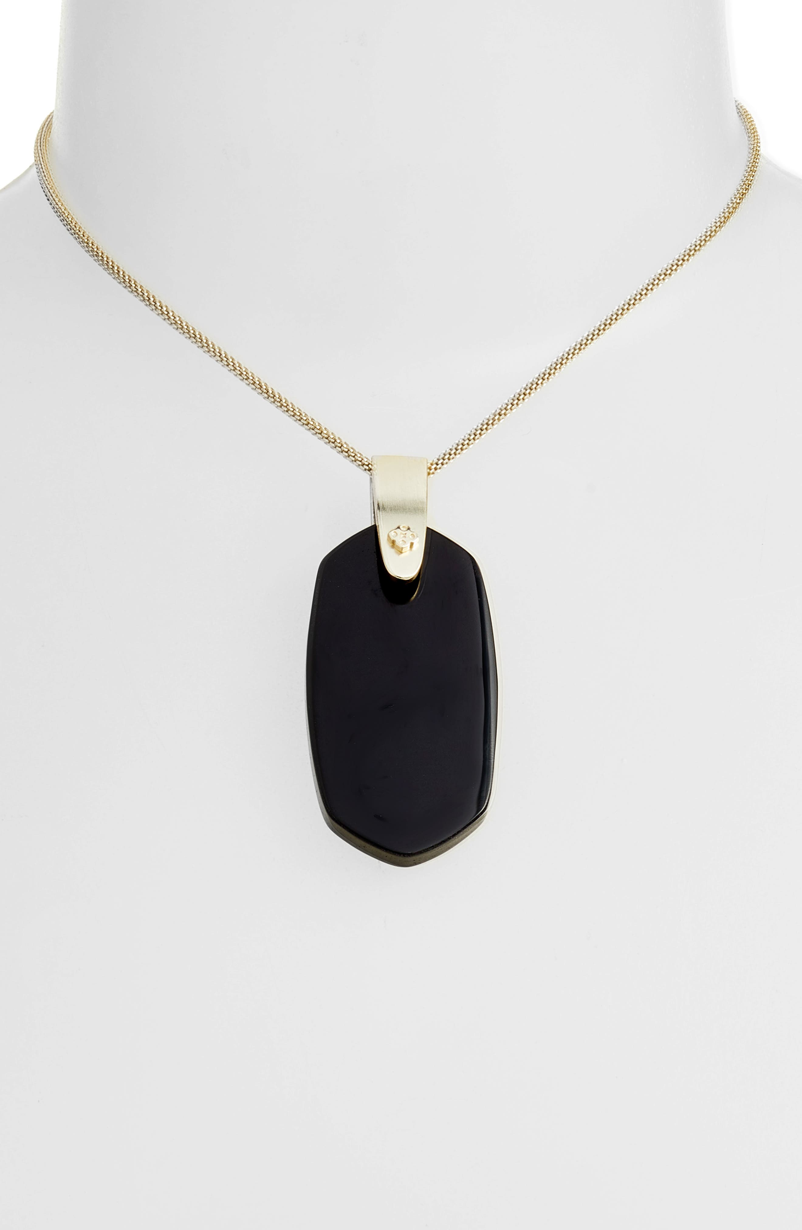 KENDRA SCOTT, Inez Pendant Necklace, Alternate thumbnail 2, color, BLACK/ GOLD