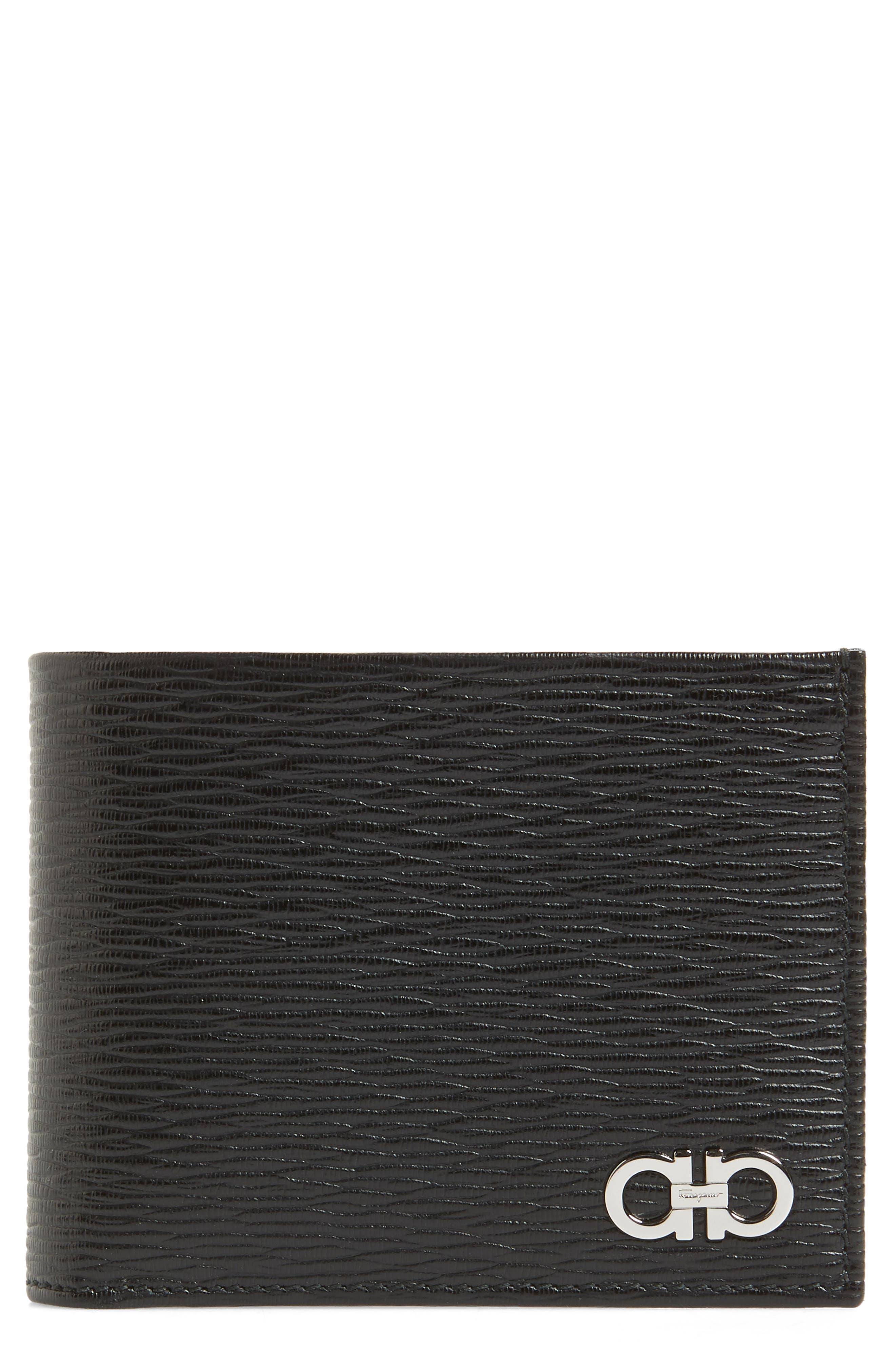 SALVATORE FERRAGAMO, Revival Leather Card Case, Main thumbnail 1, color, BLACK