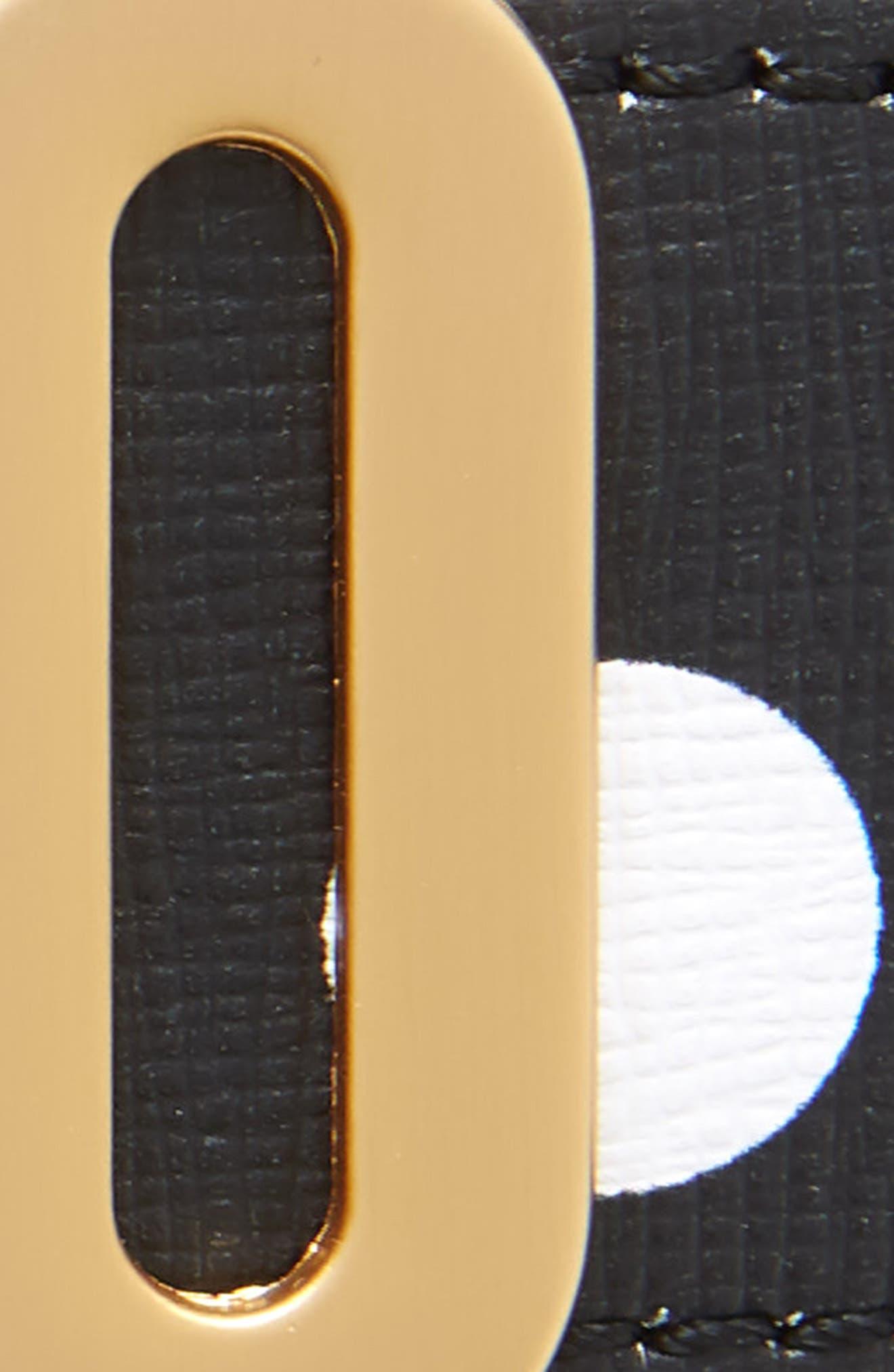 MOSCHINO, Logo Plate Polka Dot Saffiano Leather Belt, Alternate thumbnail 3, color, BLACK/ GOLD