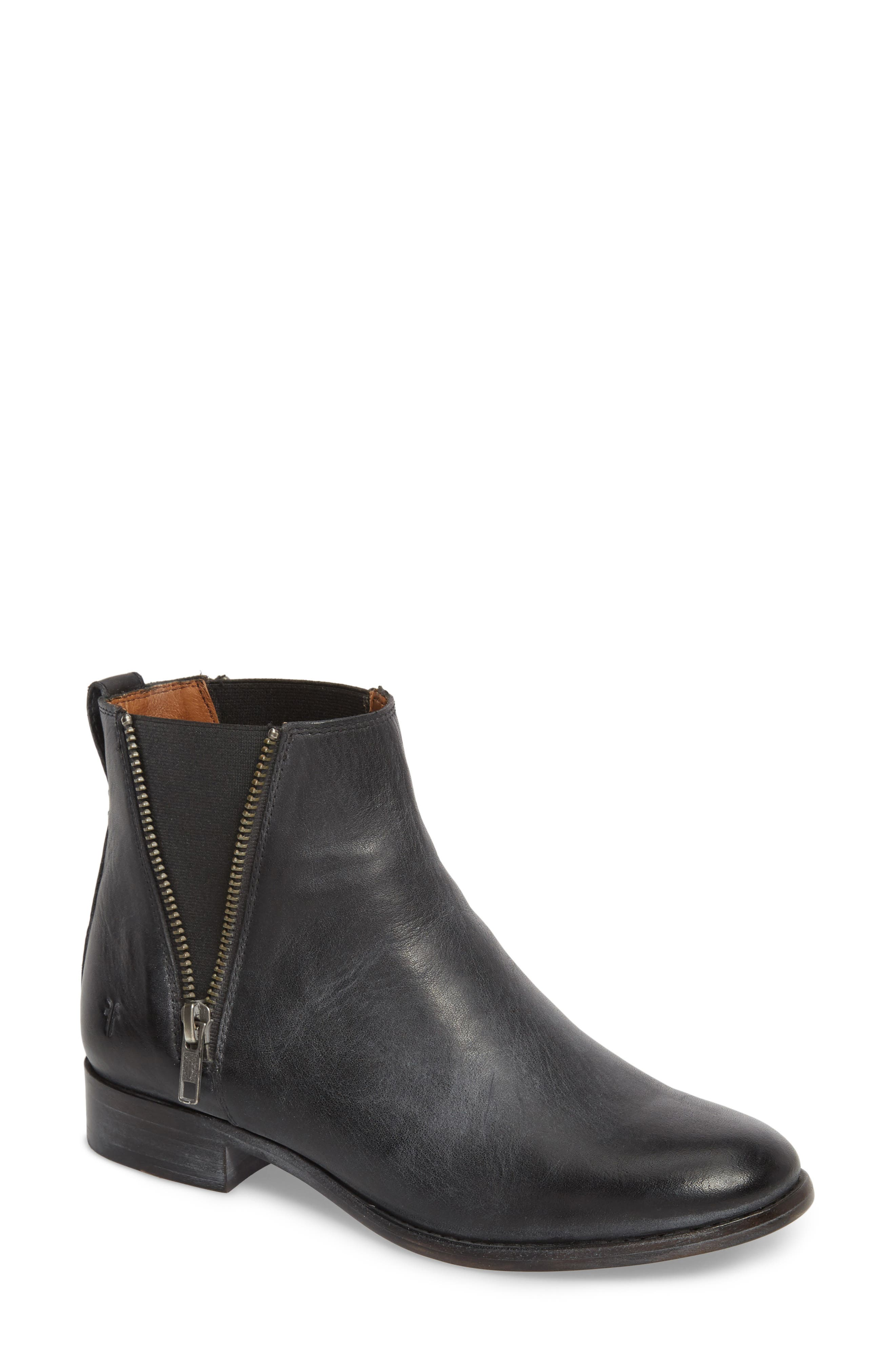 FRYE Carly Chelsea Boot, Main, color, BLACK ANTIQUED LEATHER