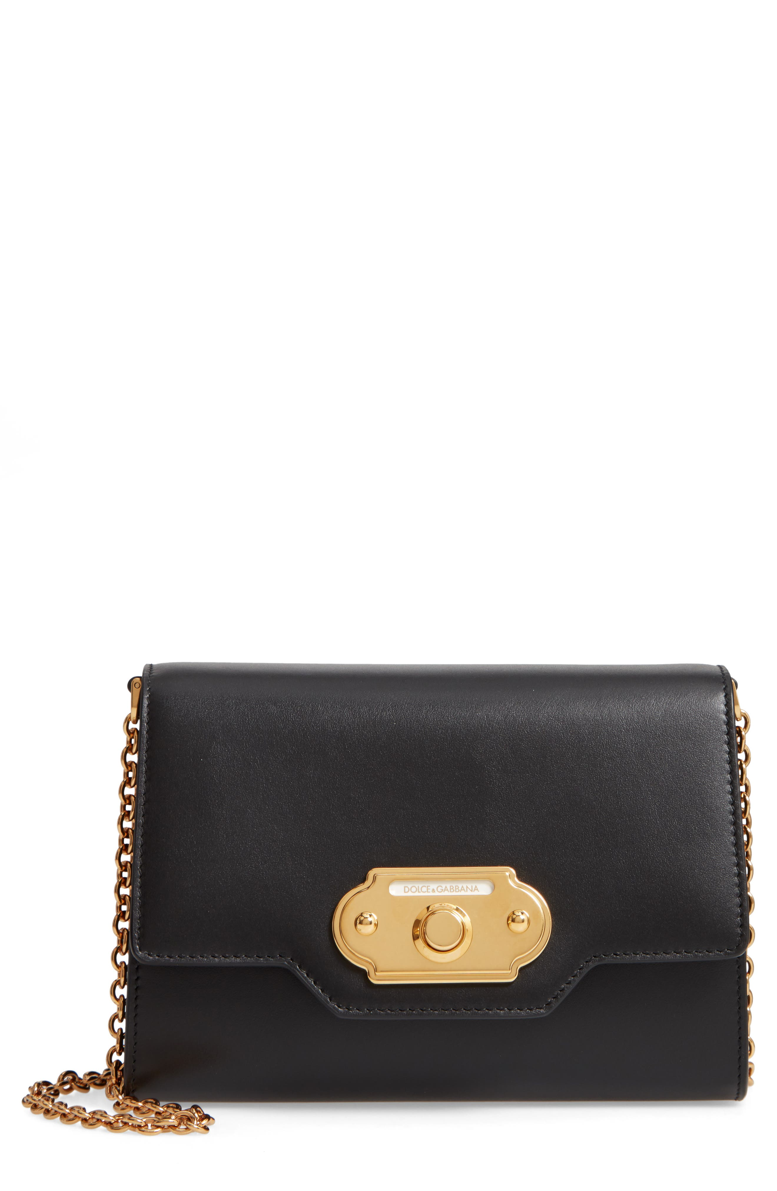 DOLCE&GABBANA, Leather Clutch, Main thumbnail 1, color, NERO
