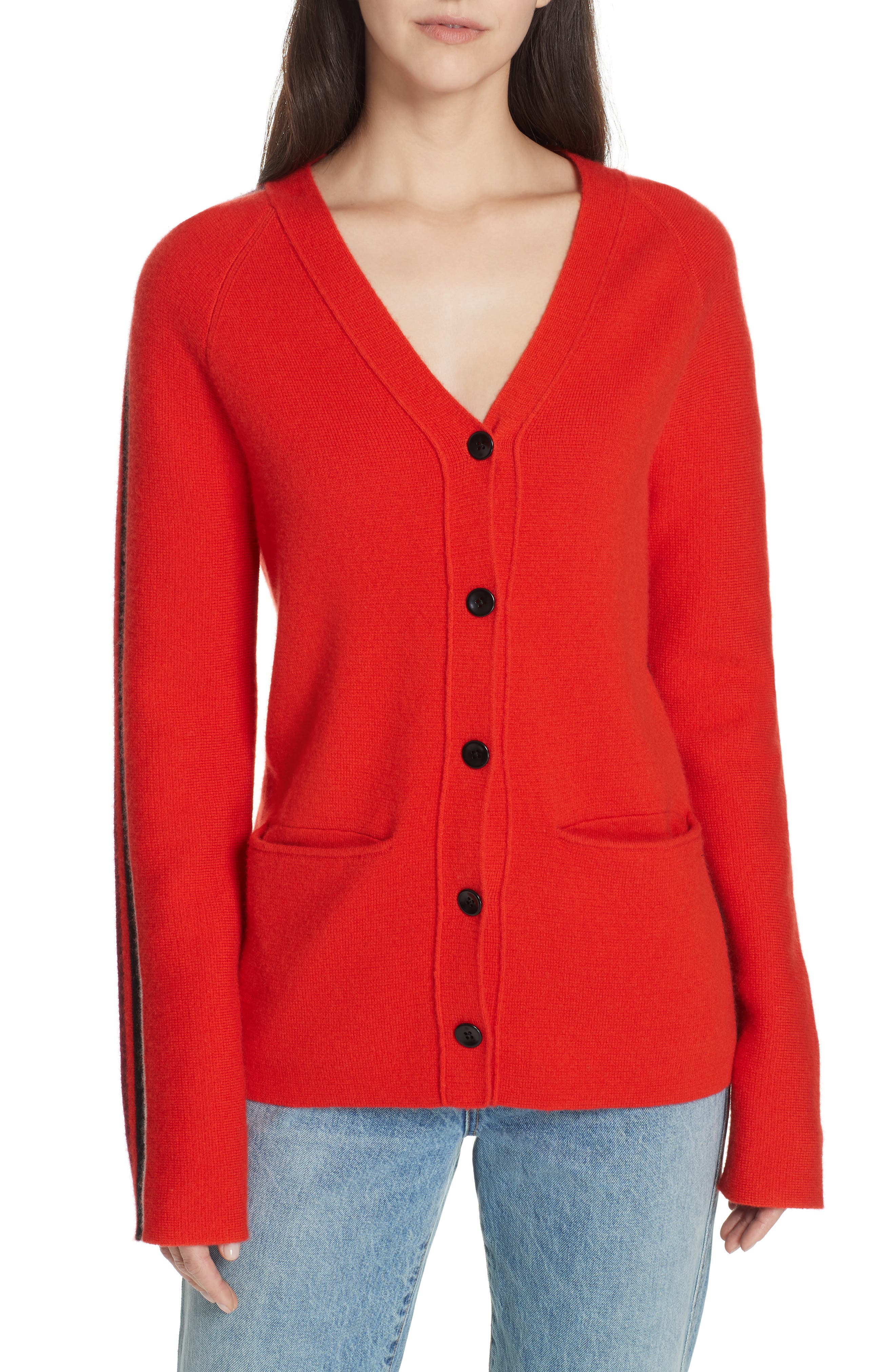 PROENZA SCHOULER, PSWL Stripe Sleeve Merino Wool & Cashmere Cardigan, Main thumbnail 1, color, RED COMBO
