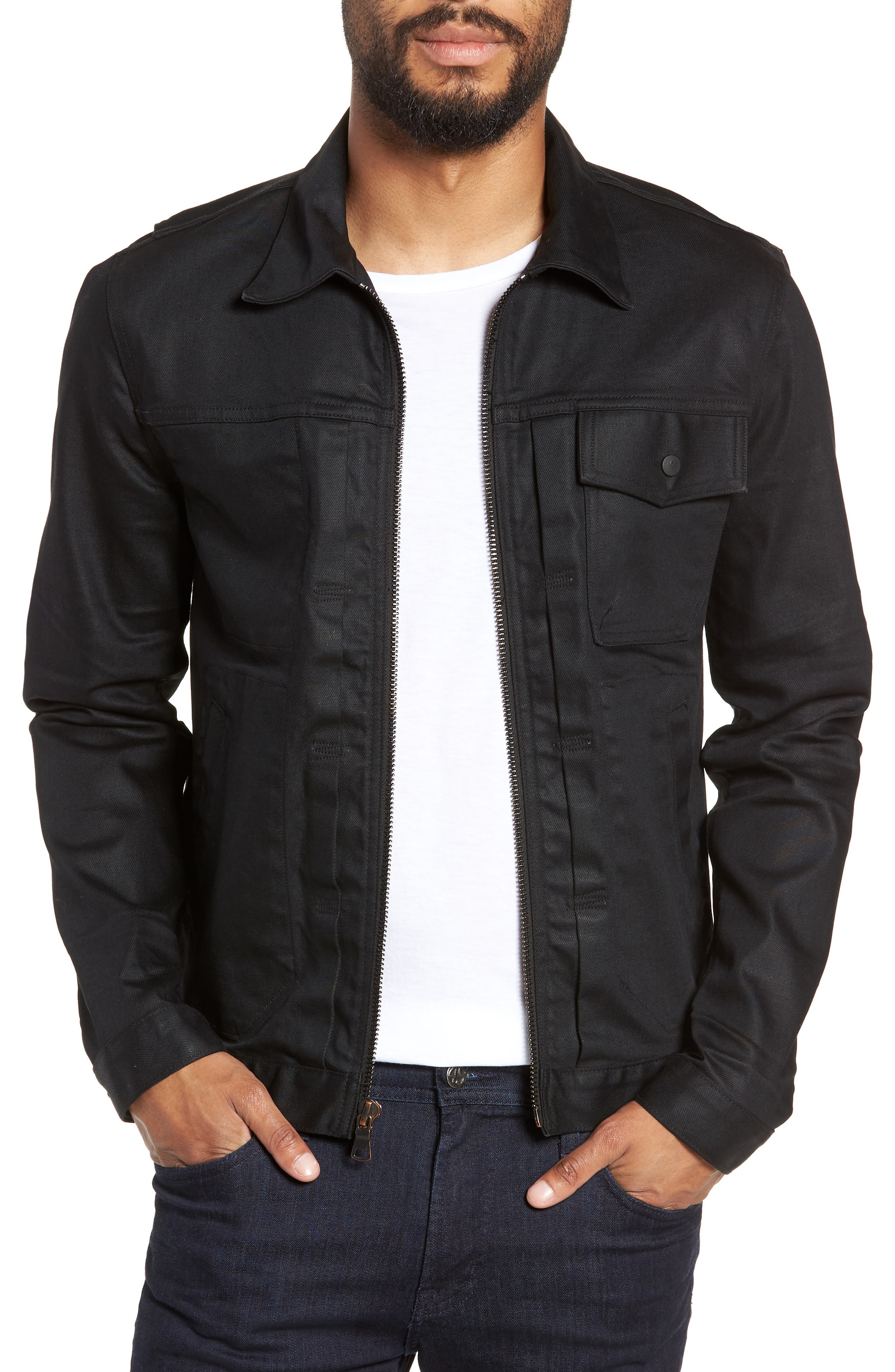 HUDSON JEANS Zip Denim Jacket, Main, color, ONYX