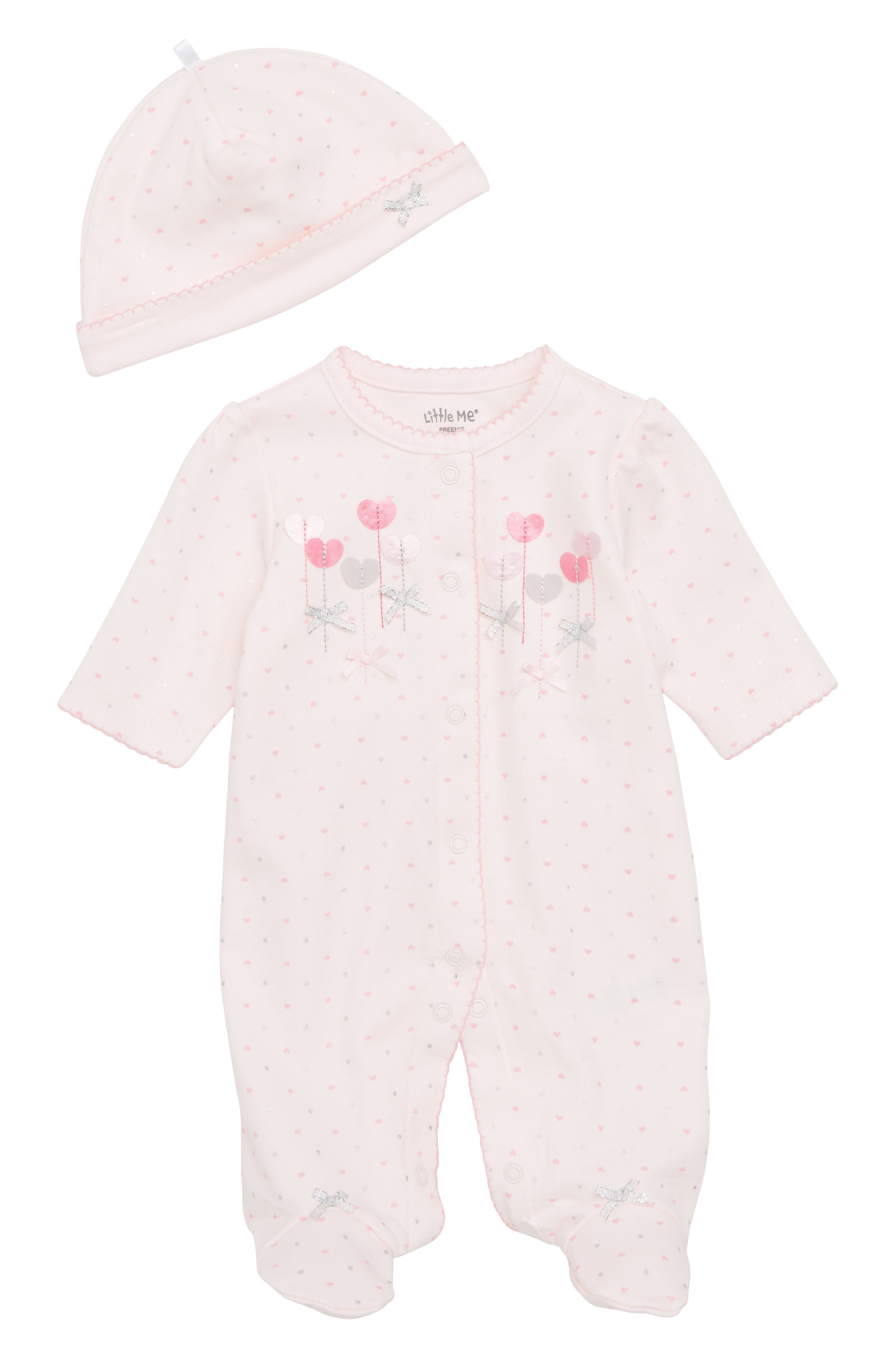 LITTLE ME, Sweetheart Footie & Matching Cap, Main thumbnail 1, color, BARELY PINK/ MULTI