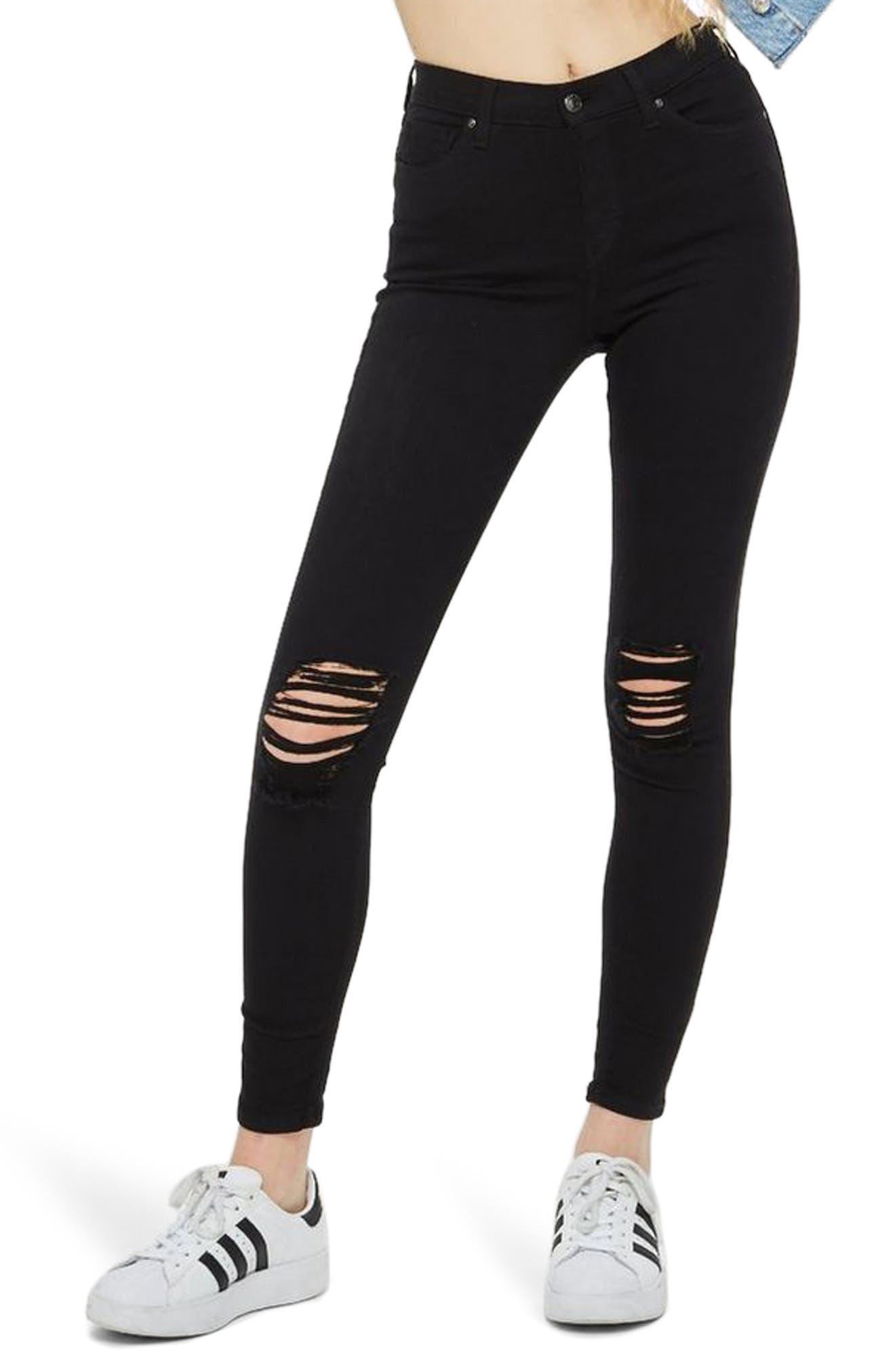 TOPSHOP, Moto Jamie High Waist Ripped Black Jeans, Main thumbnail 1, color, BLACK