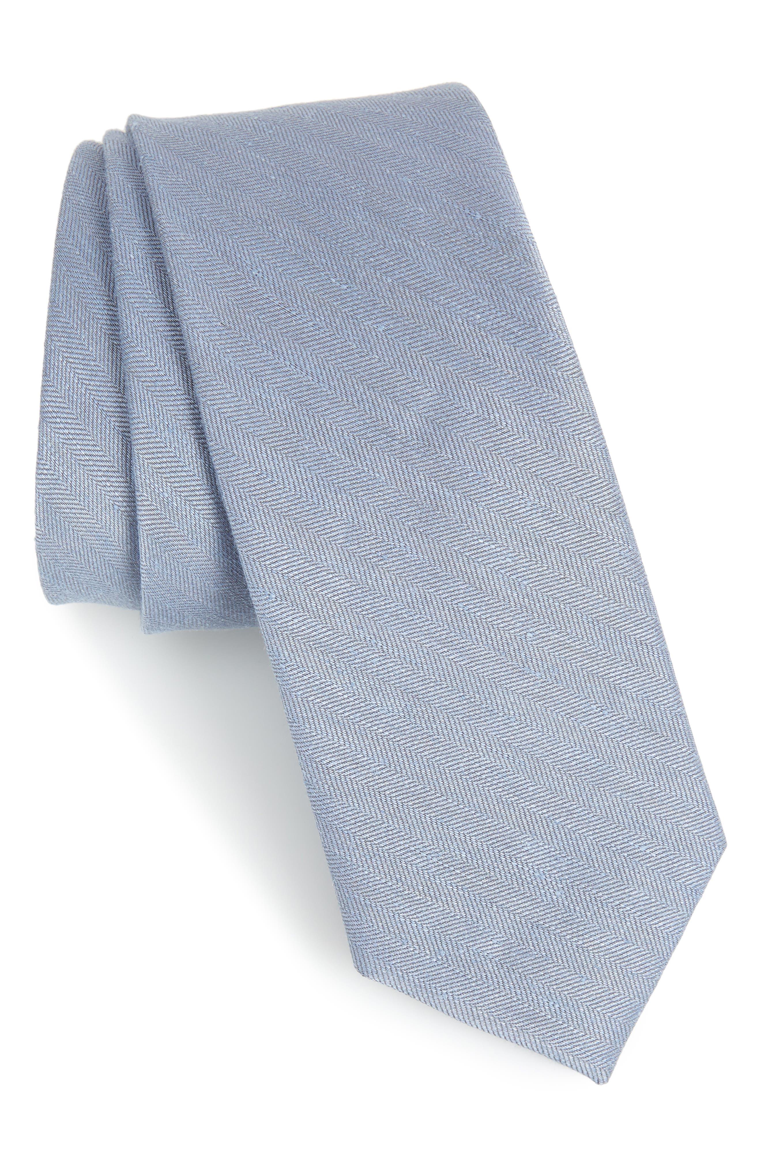 THE TIE BAR Herringbone Linen & Silk Skinny Tie, Main, color, SLATE