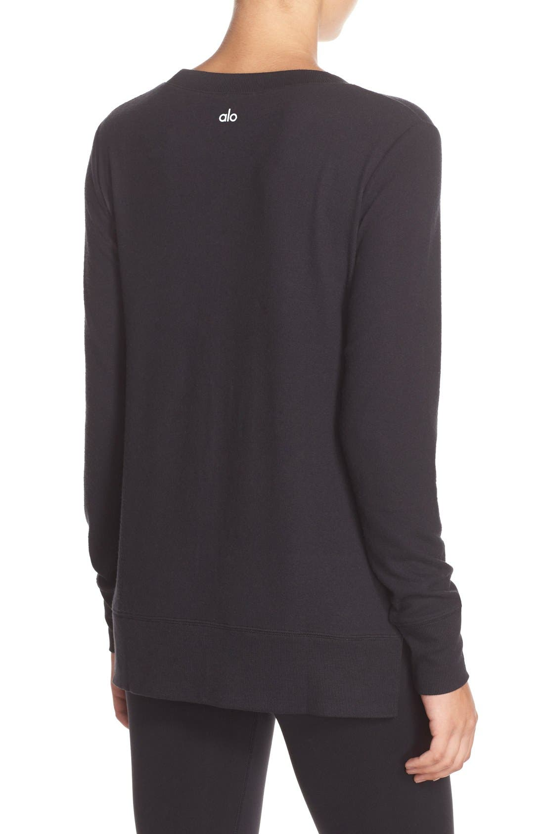 ALO, 'Glimpse' Long Sleeve Top, Alternate thumbnail 4, color, BLACK