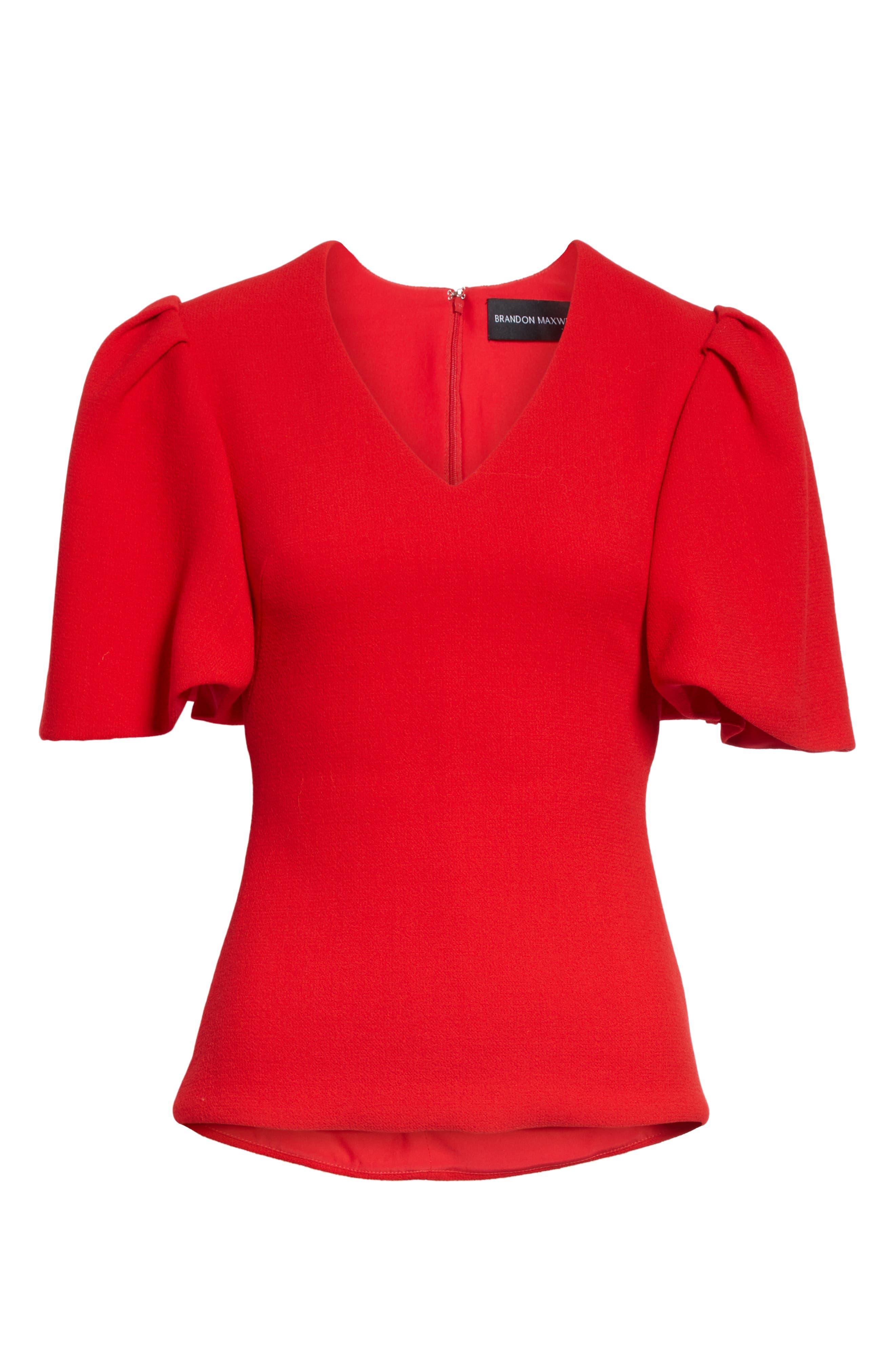 BRANDON MAXWELL, Flutter Sleeve Top, Alternate thumbnail 6, color, RED