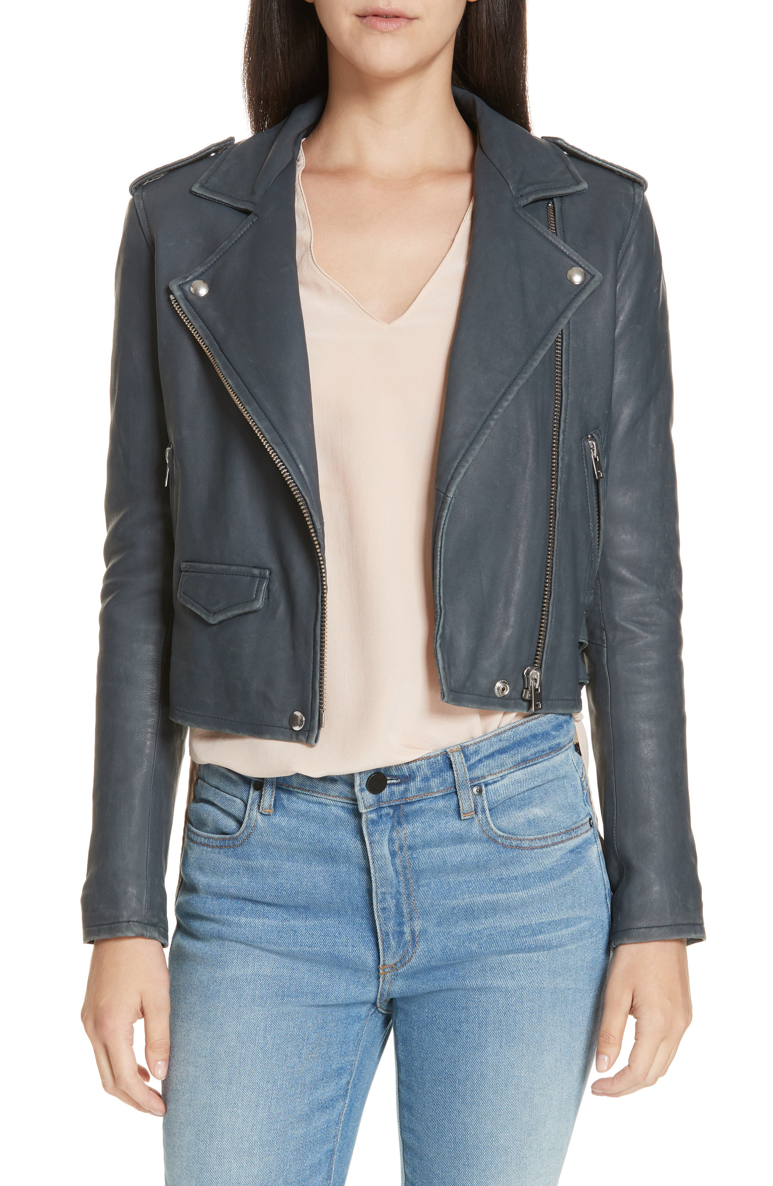 IRO, 'Ashville' Leather Jacket, Main thumbnail 1, color, GREY DENIM