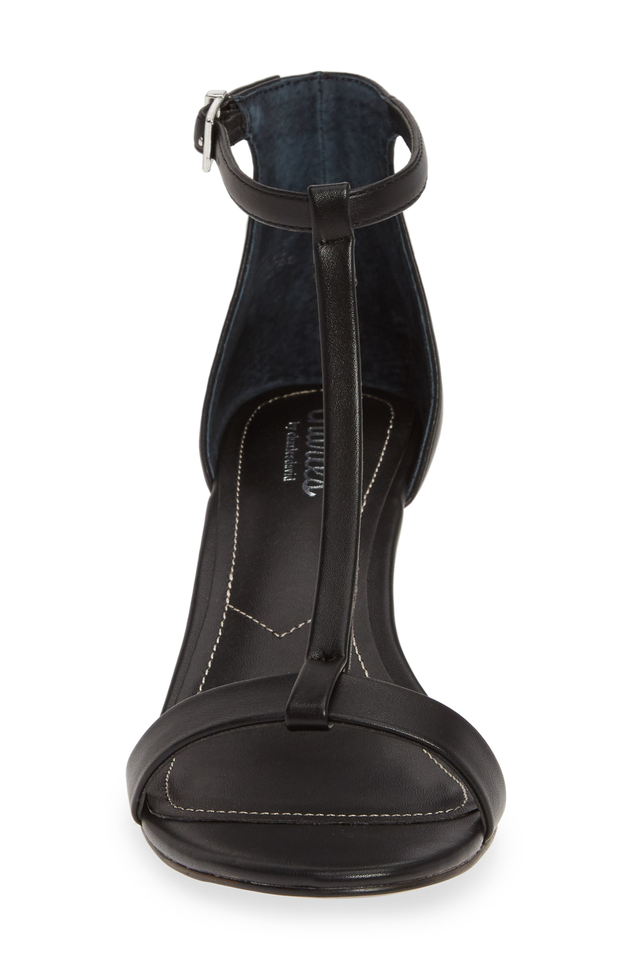 CHARLES BY CHARLES DAVID, Georgette Wedge Sandal, Alternate thumbnail 4, color, BLACK FAUX LEATHER