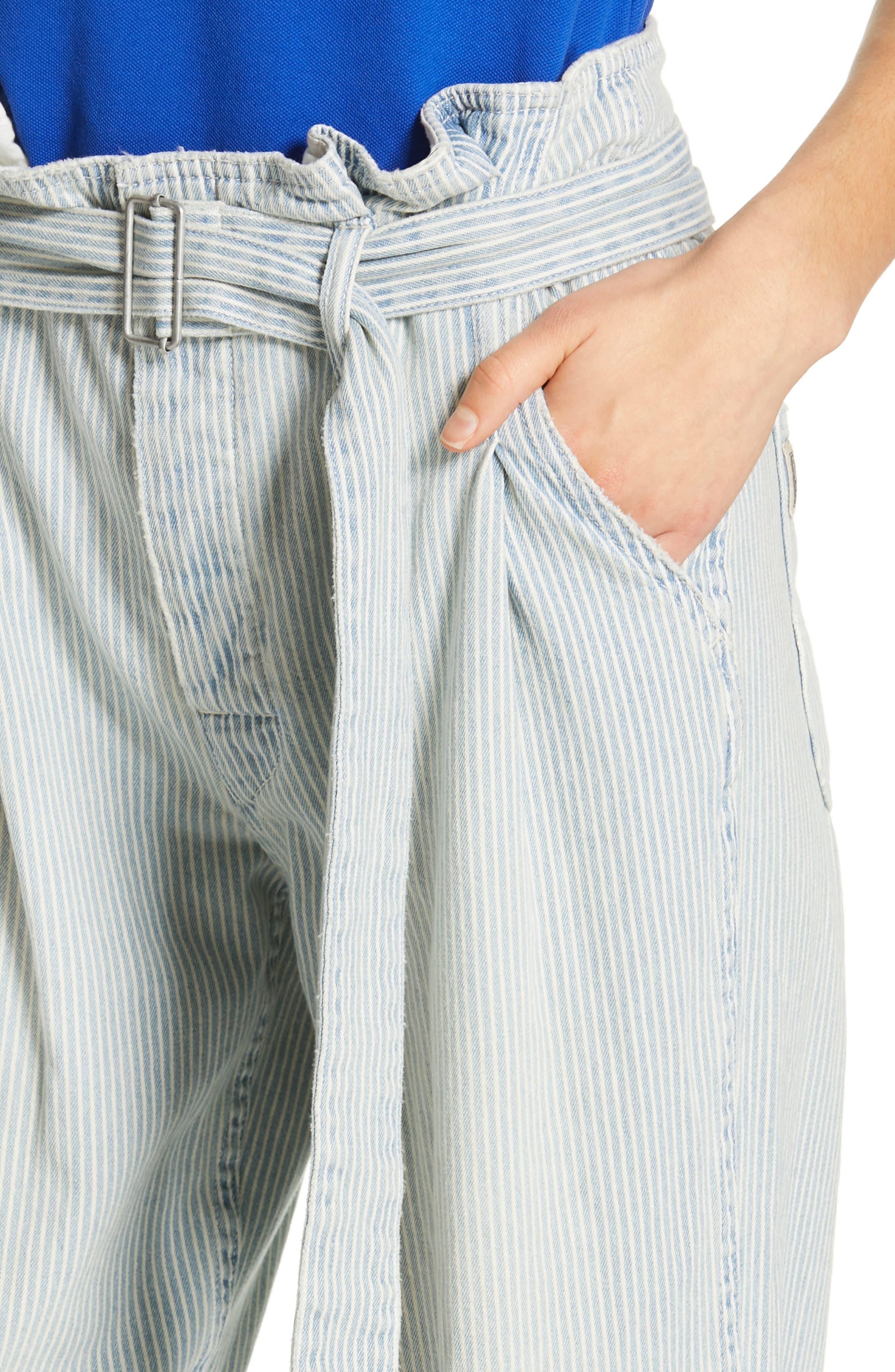 POLO RALPH LAUREN, Paperbag Waist Jeans, Alternate thumbnail 5, color, RAILROAD STRIPE