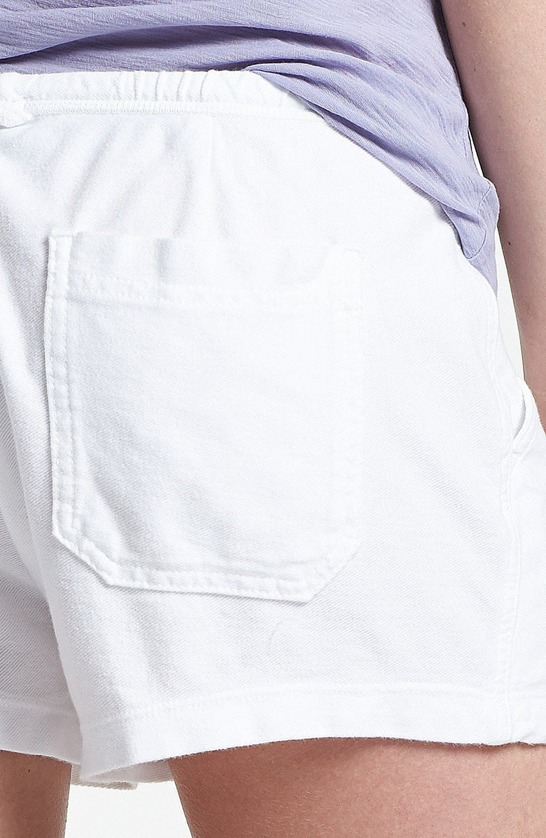 JAMES PERSE, Pintucked Twill Shorts, Alternate thumbnail 3, color, 100