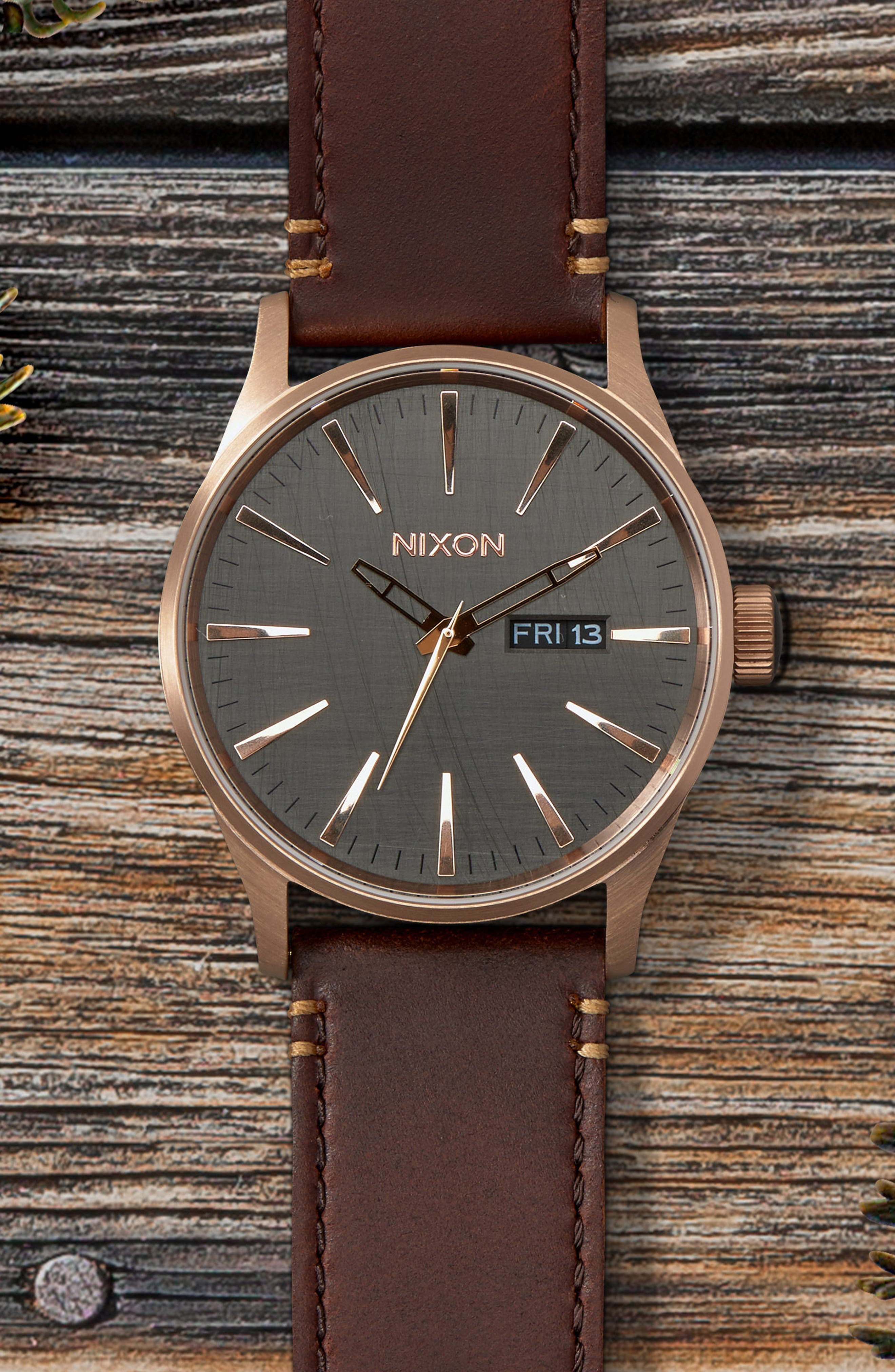 NIXON, 'The Sentry' Leather Strap Watch, 42mm, Alternate thumbnail 3, color, BROWN/ ROSE GOLD/ GUNMETAL