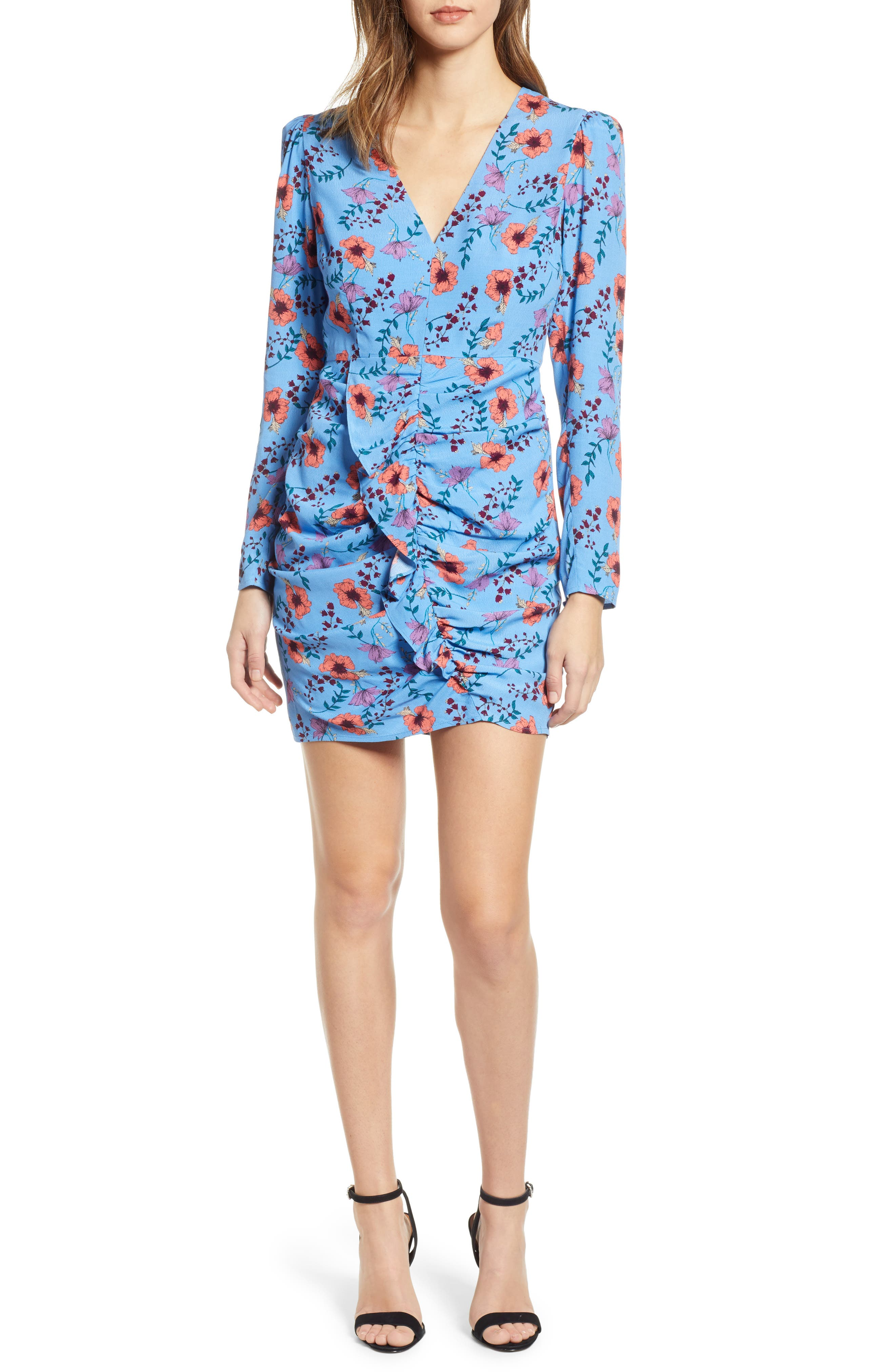 ASTR THE LABEL, Floral Print Ruched Dress, Main thumbnail 1, color, BLUE MULTI FLORAL