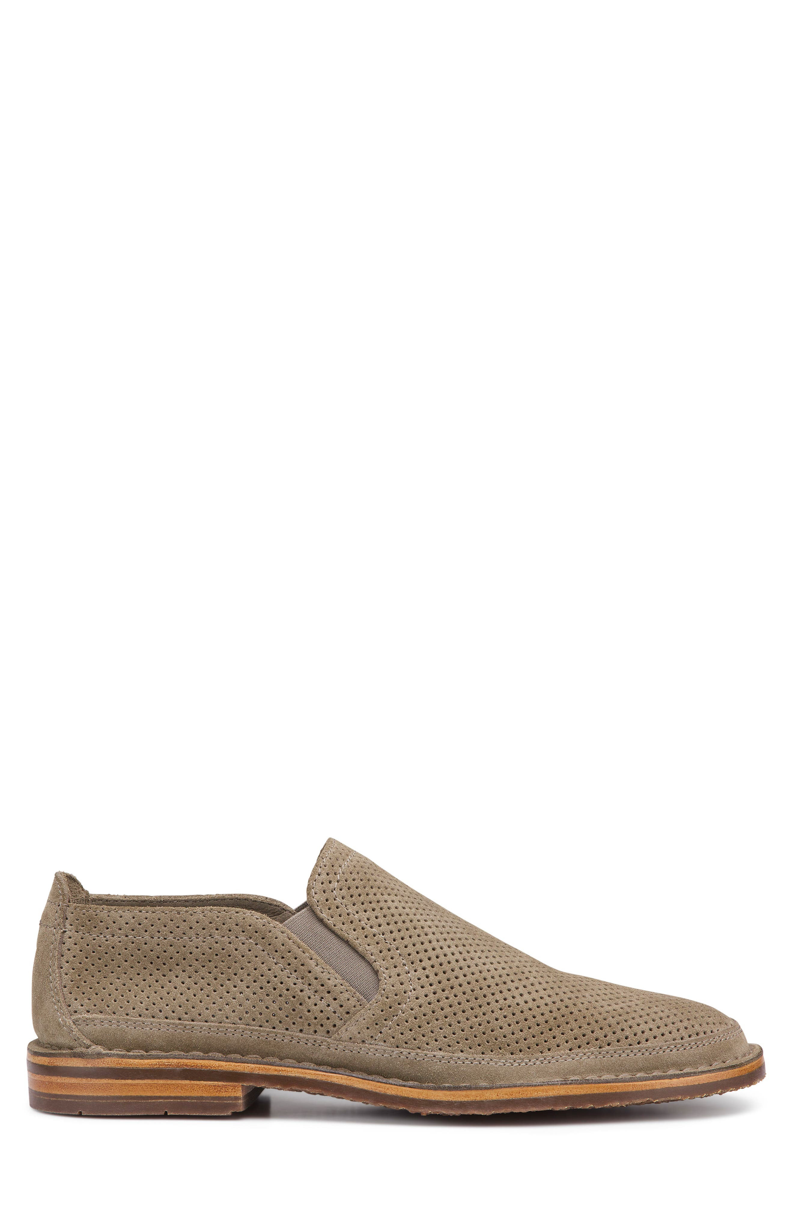 TRASK, Bradley Perforated Slip-On, Alternate thumbnail 3, color, TAUPE SUEDE