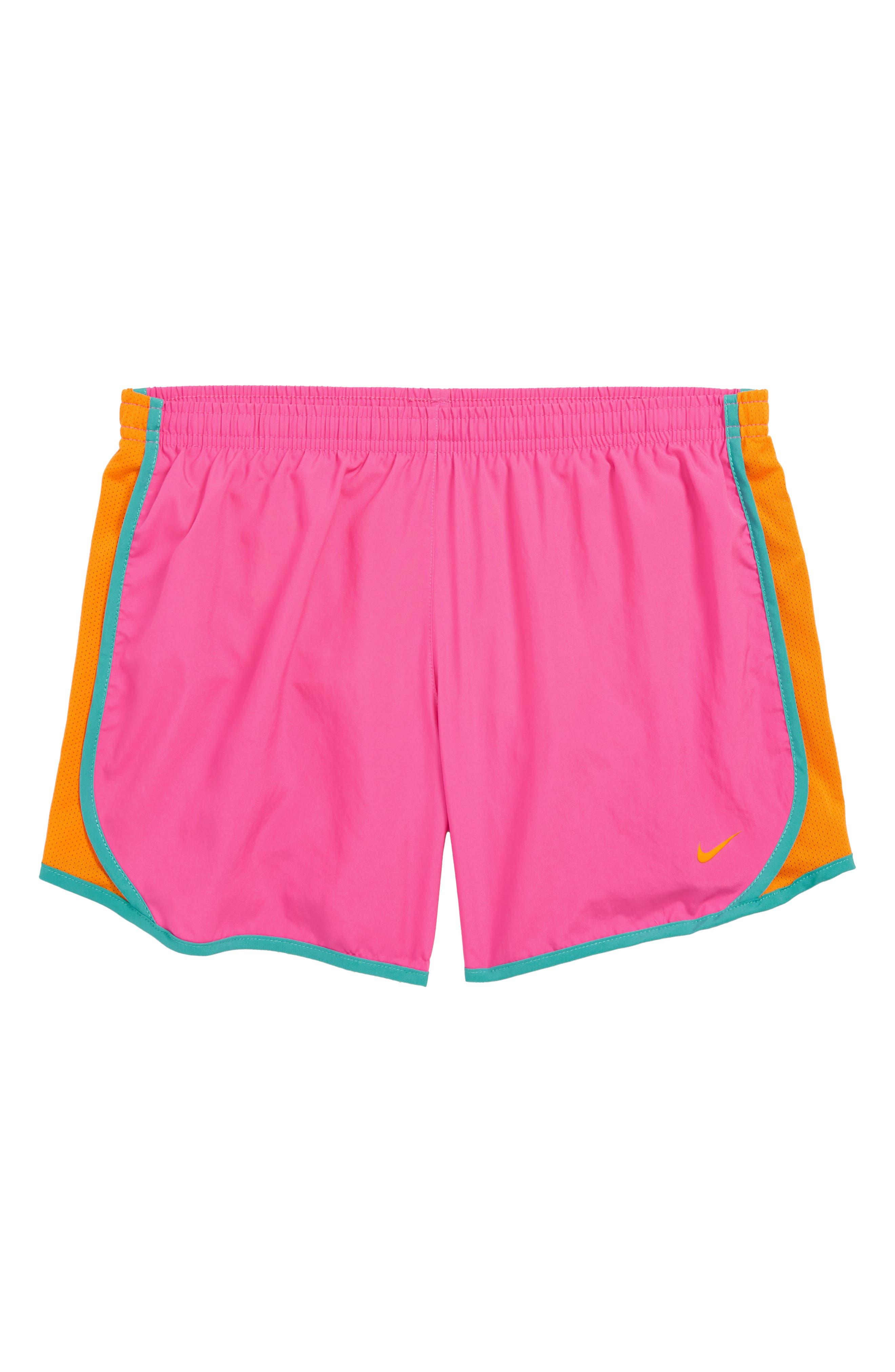 NIKE, Dry Tempo Running Shorts, Main thumbnail 1, color, LASER FUCHSIA/ ORANGE PEEL