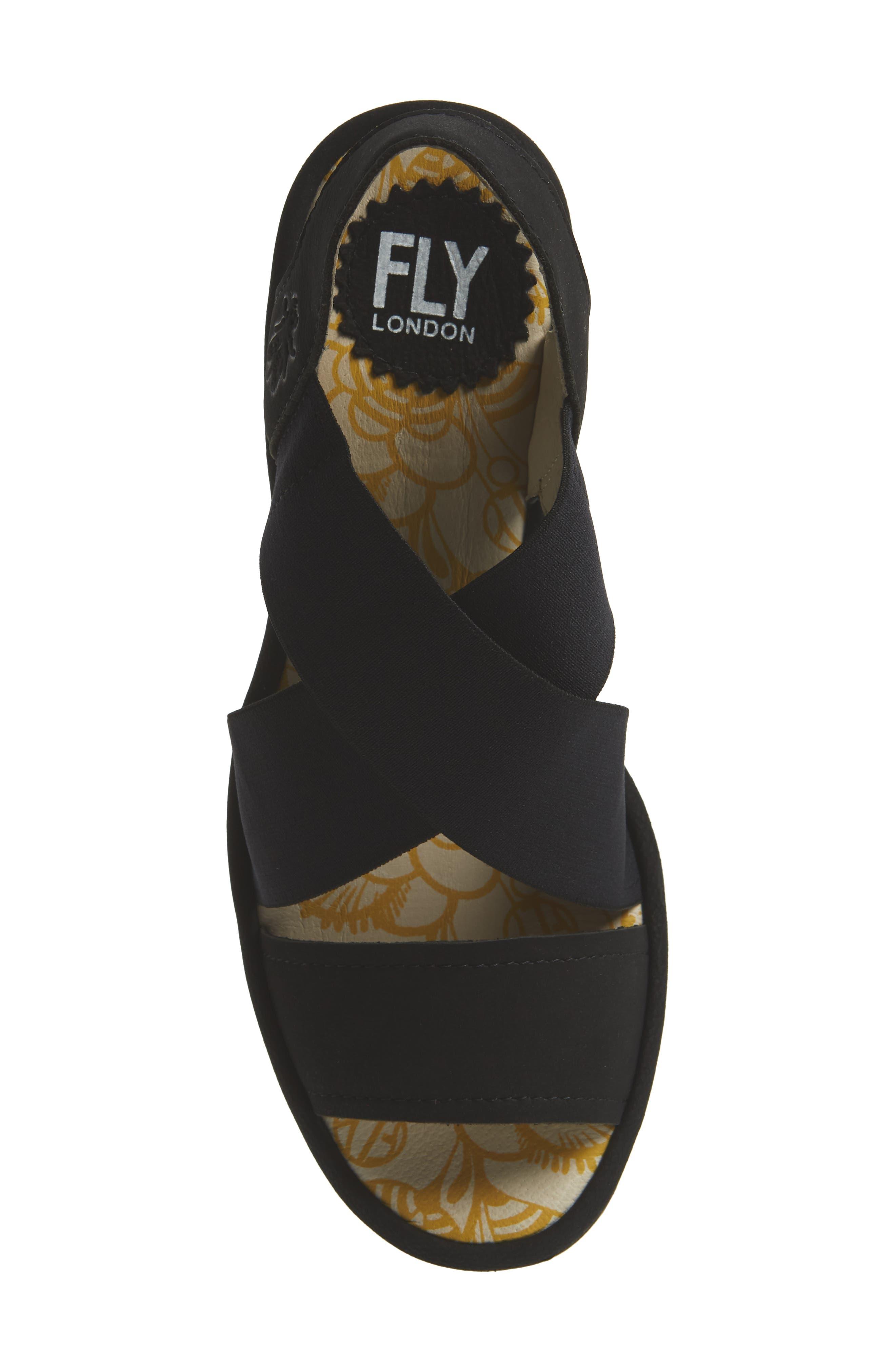 FLY LONDON, Yaji Cross Wedge Sandal, Alternate thumbnail 5, color, BLACK LEATHER